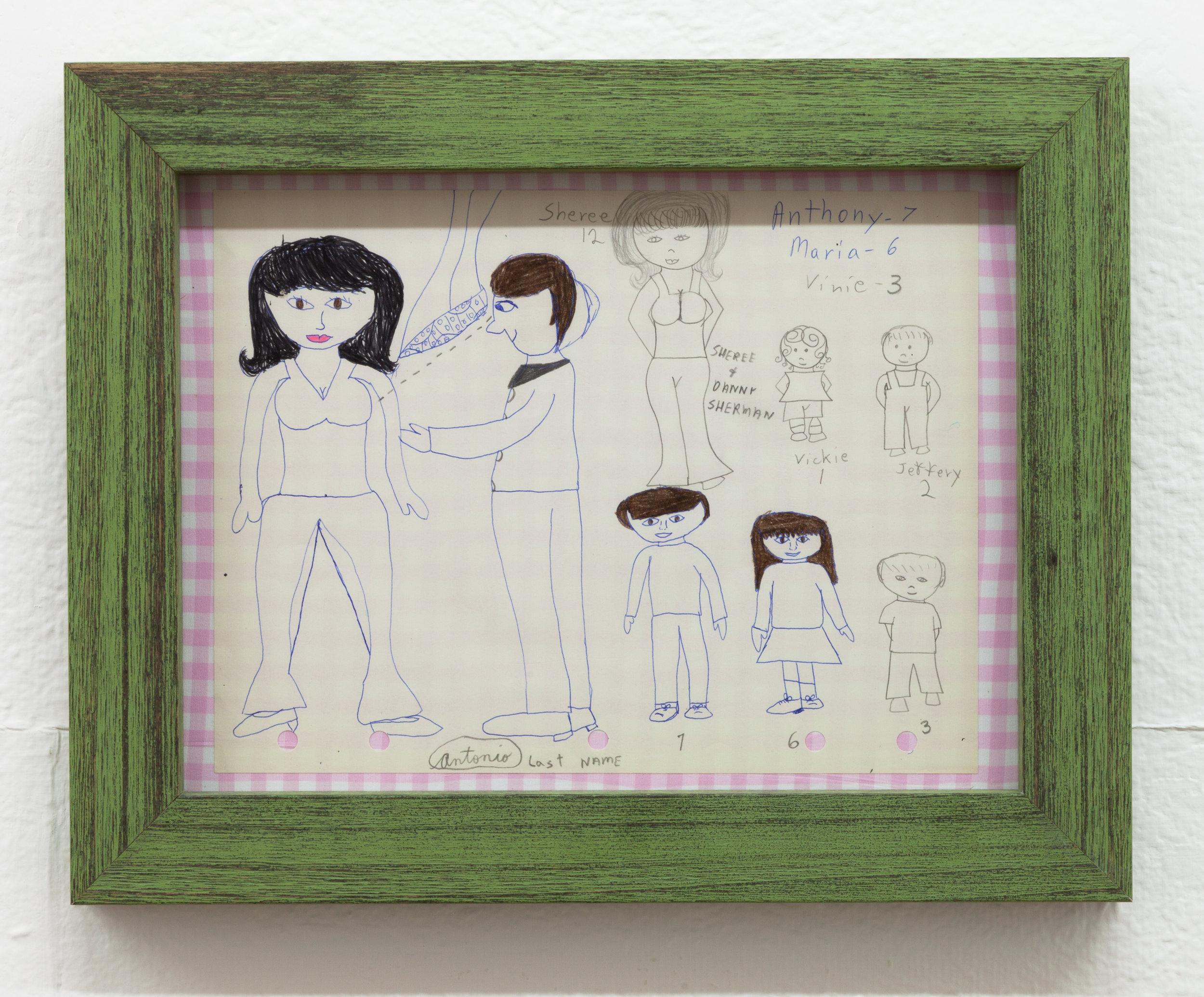 Aunt Nancy, Antonio, Circa 1963-1968 Pen and pencil on paper 8 x 10.5 inches + frame