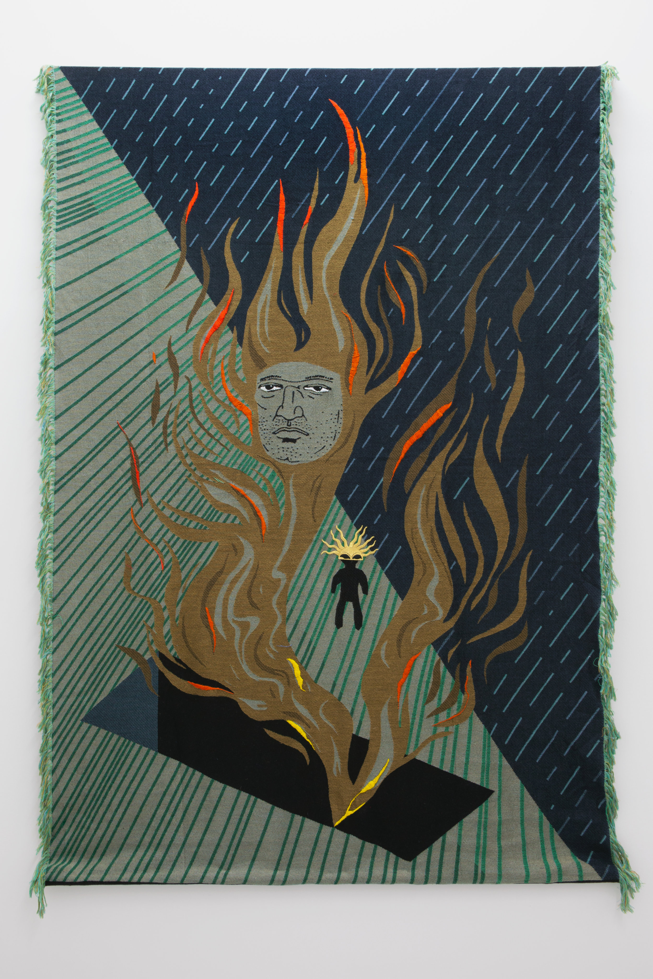 Oona Brangam-Snell,  Flaming Tomb , 2019 Jacquard Tapestry with Hand Embroidery, 67x48x1in
