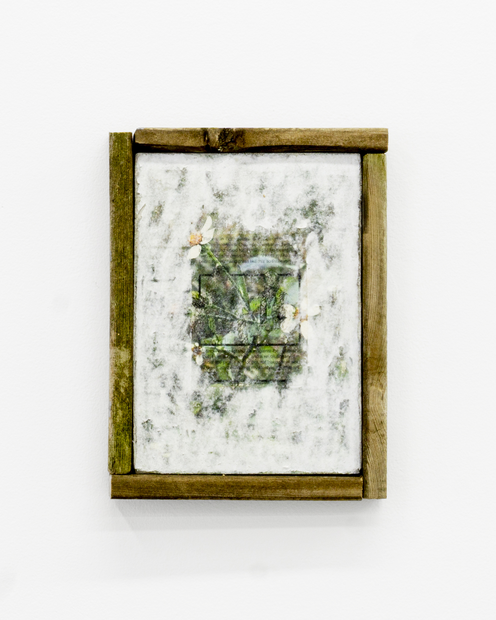 """Garrett Lockhart, """"Against the pigs, for pot, for freedom of sex,"""" 2019, Laserprint, Christian Workbook Page, Cotton Rag, Salvaged Wood, 8.5 x 11"""""""