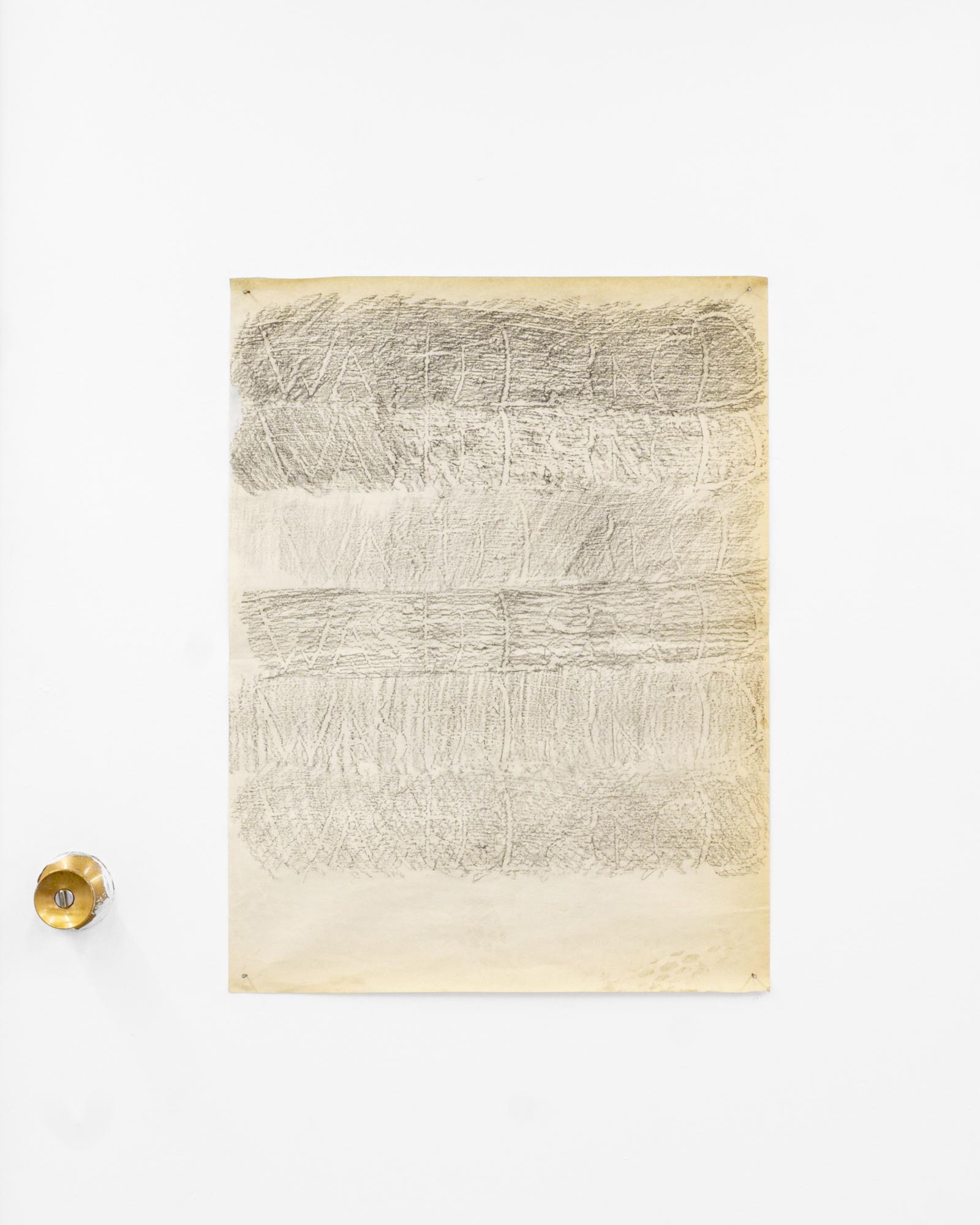 """Garrett Lockhart, """"WASTELAND,""""2019, Lumber crayon, found paper, salvaged nails, 24x18"""""""