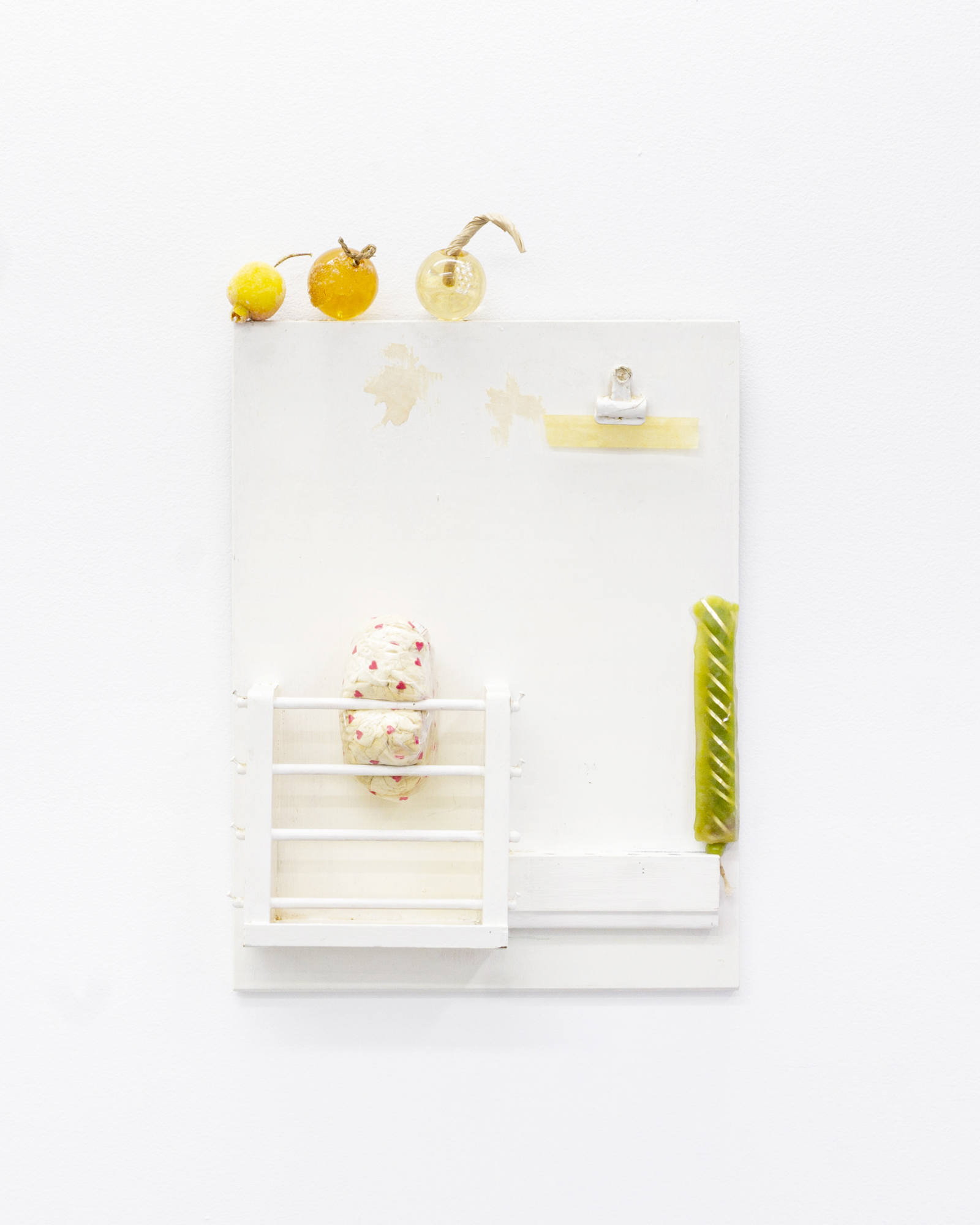 """Nikki Woolsey, """"Closing Store withFruit Remix,"""" 2019, Wood, resin, paint, beads, wicker, suede, plastic bag, price tag, metal, tape, candle"""