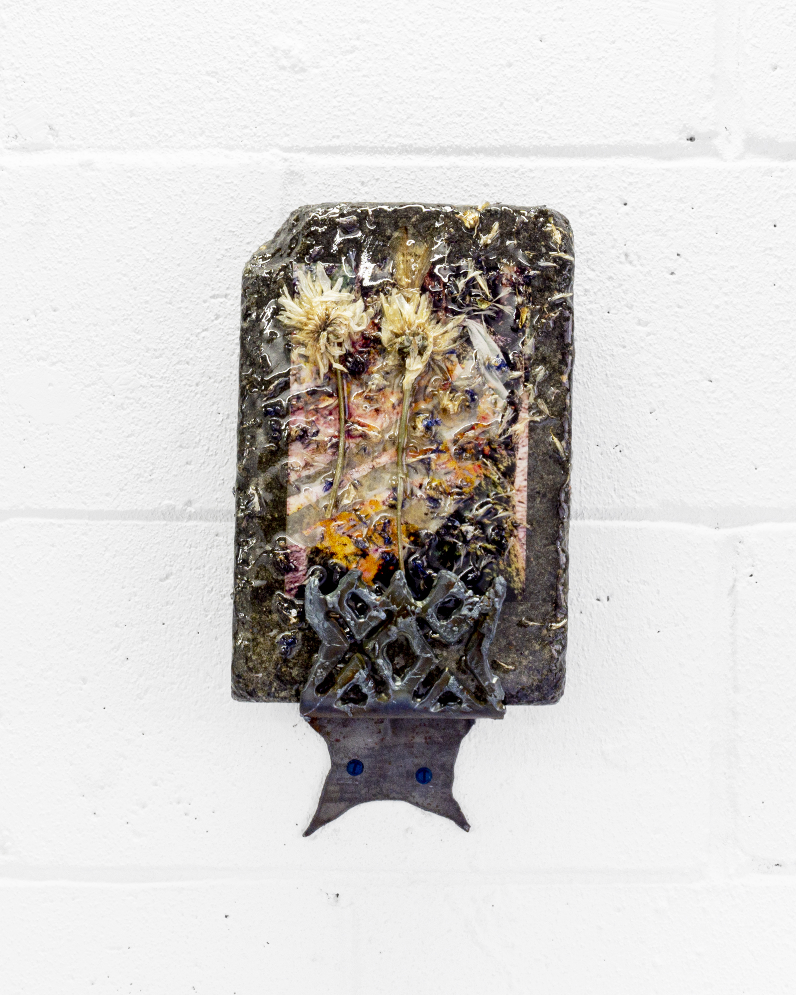 "Suzanna Zak, ""Moss Soak,"" 2019, Weathered C-print, stone, flowers, resin, steel."