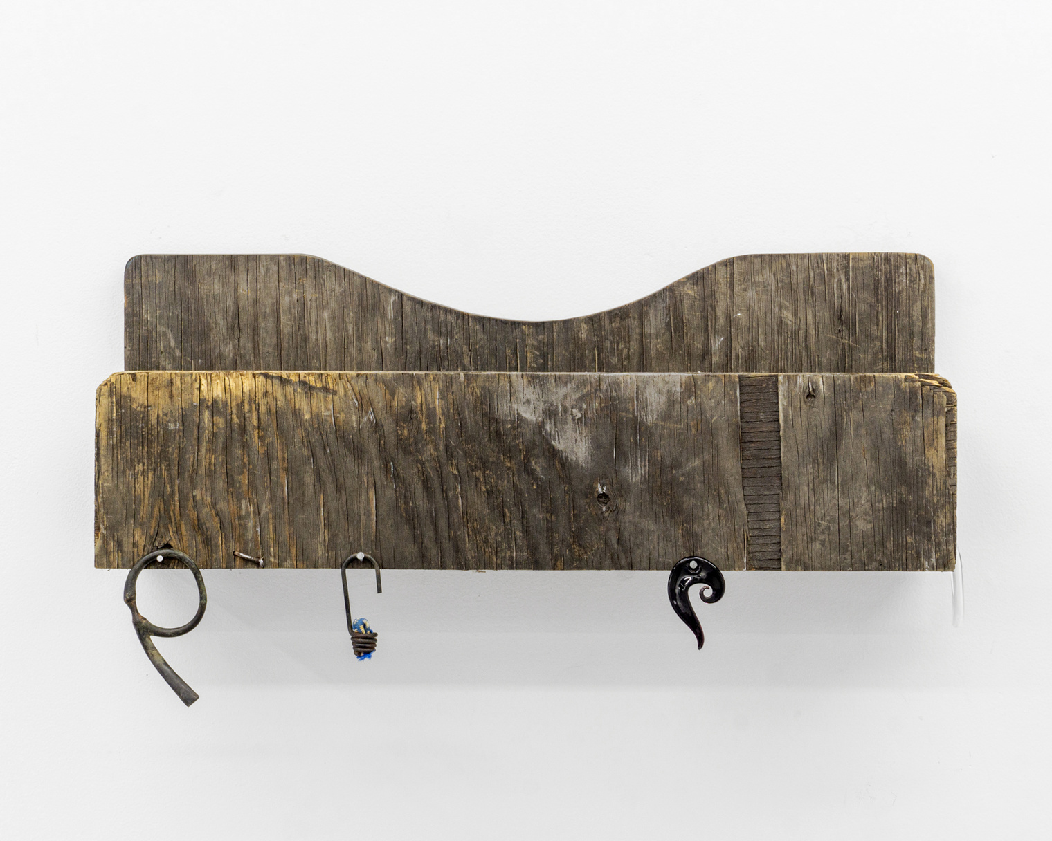 """Nikki Woolsey, """"March-April,""""2019, Wood, paint, glass, metal, nails, rope."""