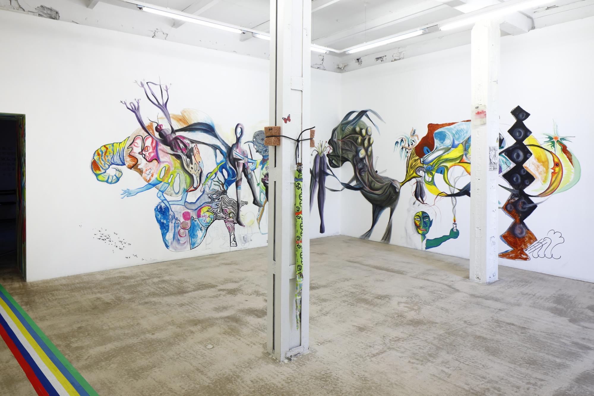 "Bora Akinciturk, Jaakko Pallasvuo, Viktor Timofeev, Evita Vasiļjeva, ""Ship of Fools"", 2019, pastels, acrylics, markers"
