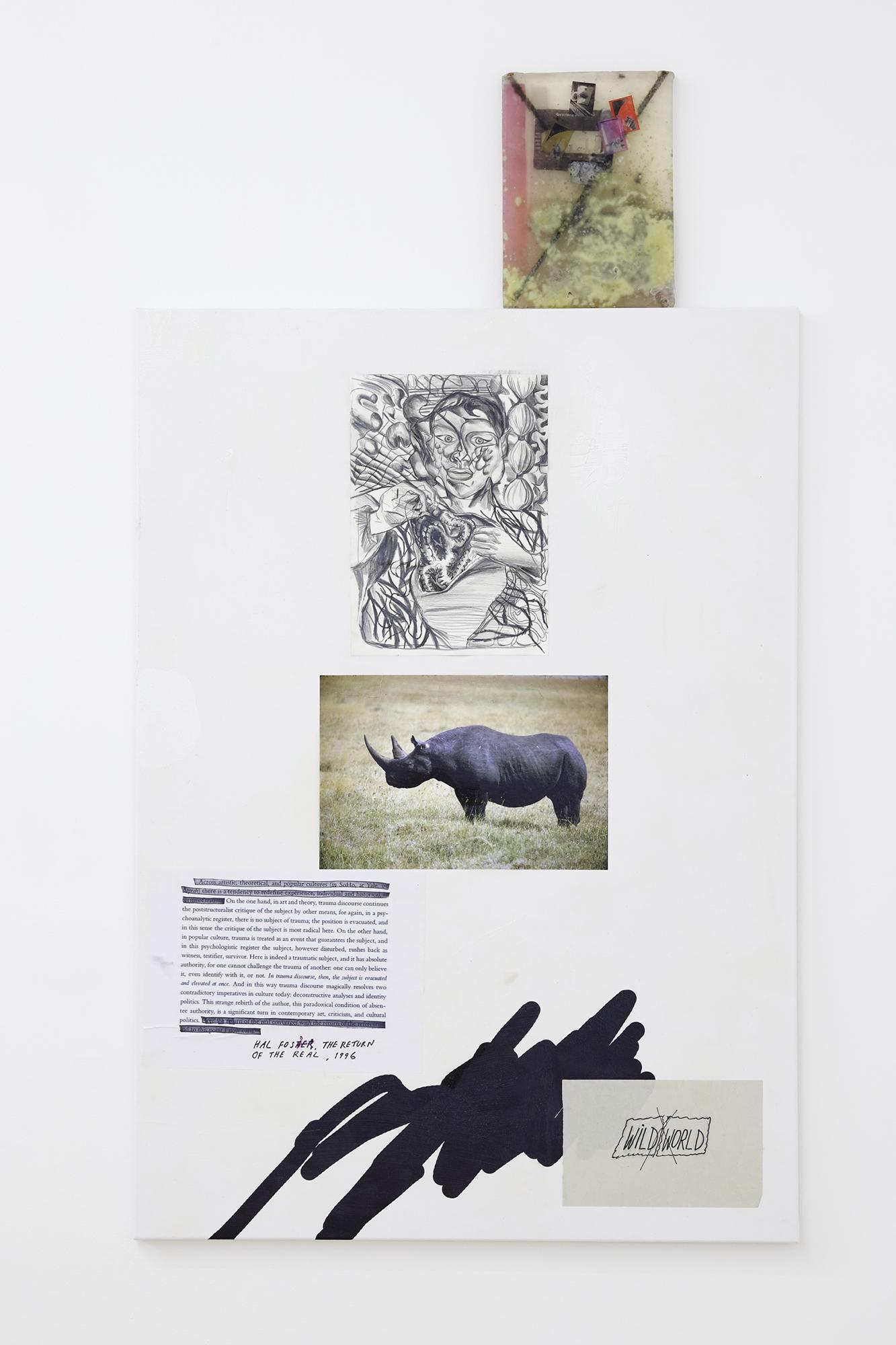 "Bora Akinciturk, Jaakko Pallasvuo, Evita Vasiļjeva, ""Barely Alive I"", 2019, acrylics, digital print, acrylic gel, canvas, soap, steel, laser prints, insects"
