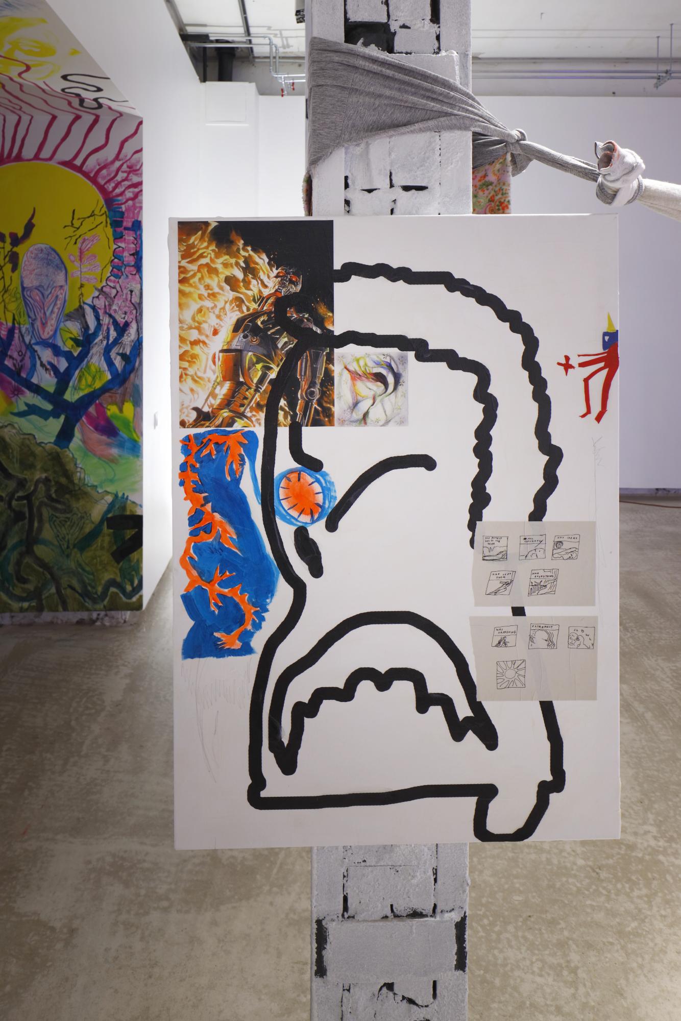 "Bora Akinciturk, Jaakko Pallasvuo, Viktor Timofeev, ""Barely Alive II"", 2019, acrylics, digital print, acrylic gel, canvas"
