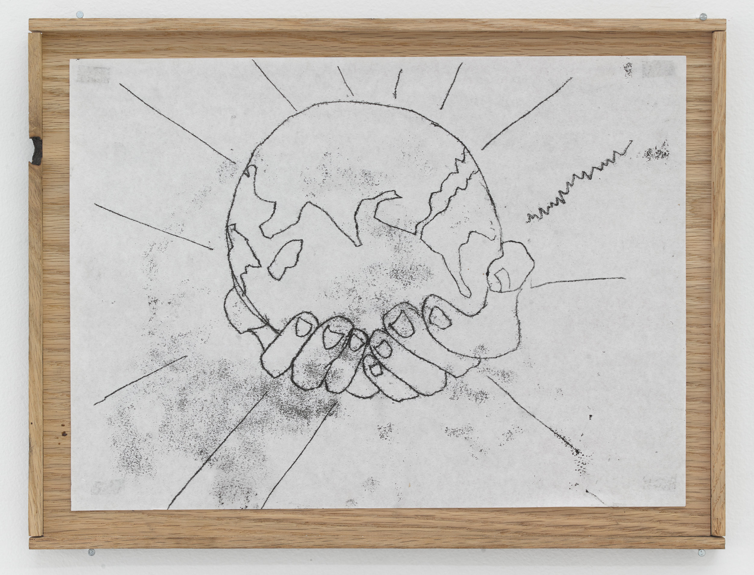 Maddy Parrasch,  Untitled (The World) , 2018, Ink monoprint in artist-made wooden frame 9 1/4 × 12 3/4 inches