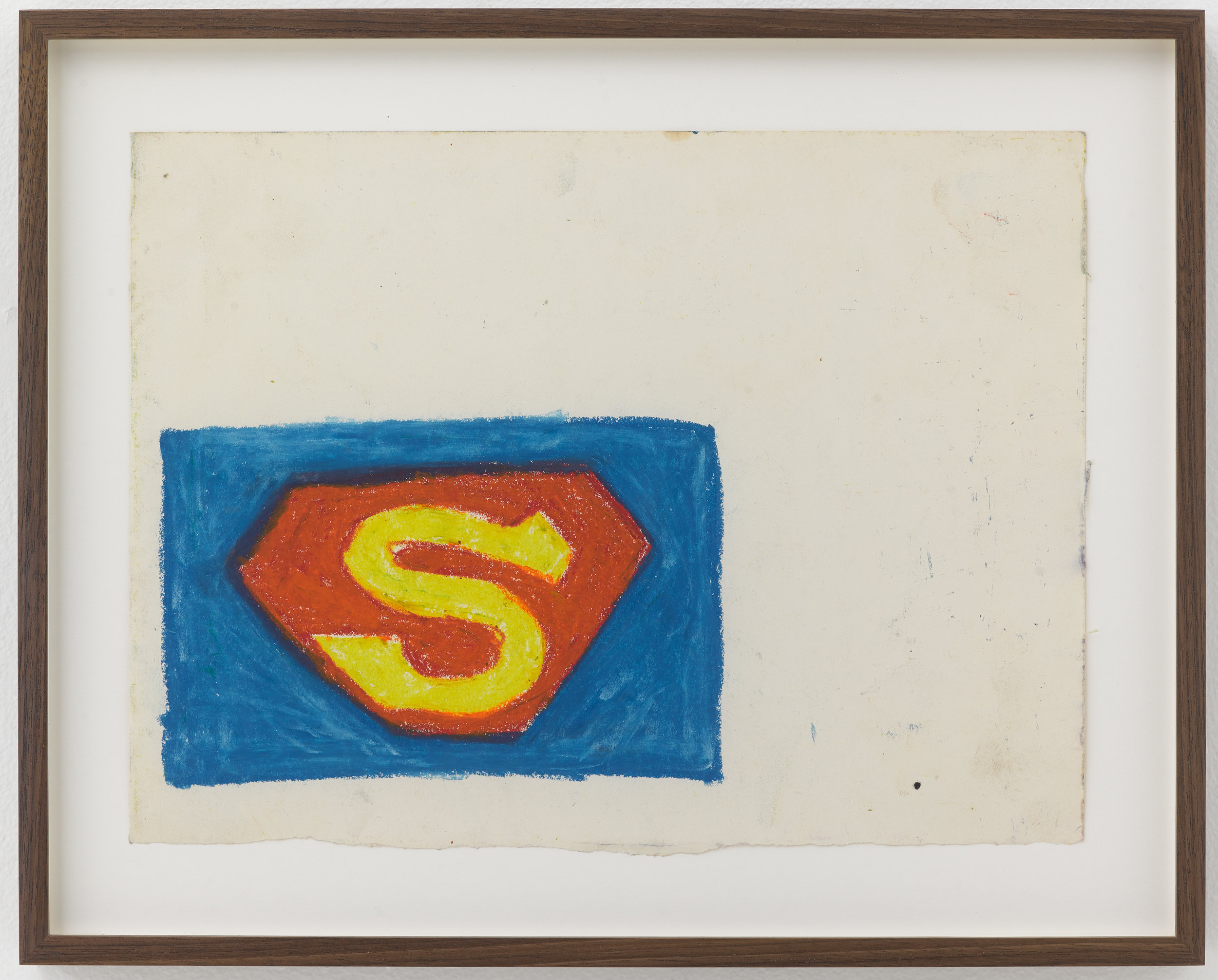 Stewart Hitch,  Superman Logo,  c. 1978, Oil stick on paper, 9 × 12 inches