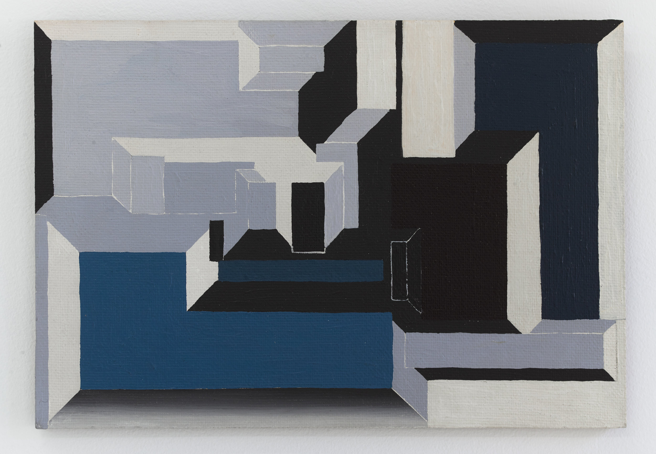 Suzanne Blank Redstone  Blue and Maroon Portal,  1969, Acrylic on Masonite, 10 × 14 inches