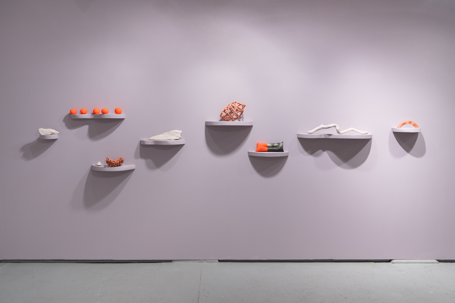 Meghan Grubb,  river-bodies,  2019, shelves, various handmade objects, dimensions variable