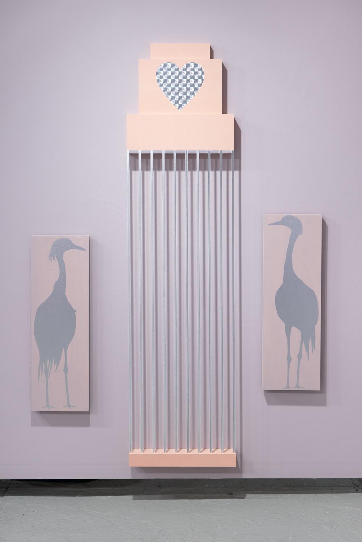 Allison Lacher,  Suite , 2019; wood, ribbon, vinyl
