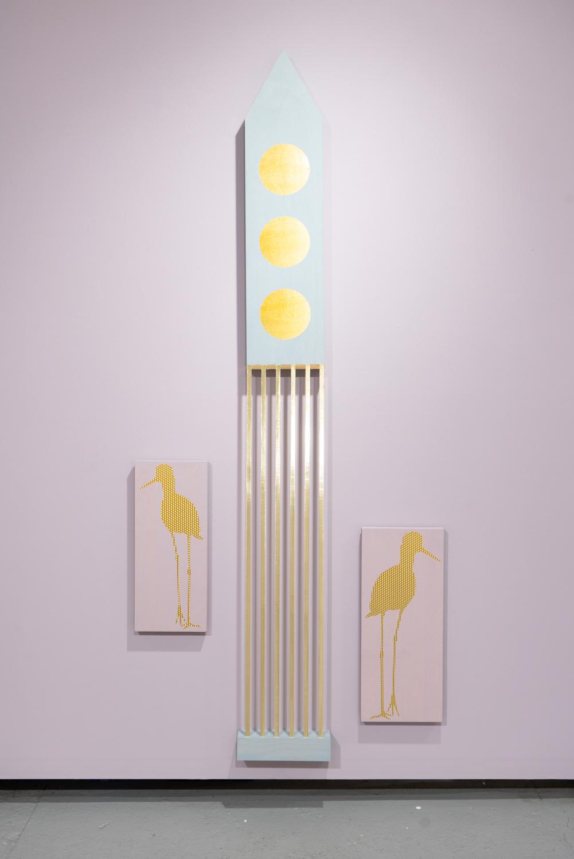 Allison Lacher,  High-rise , 2019; wood, ribbon, vinyl