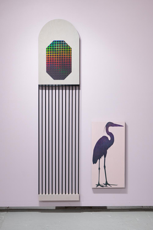 Allison Lacher,  Penthouse , 2019; wood, ribbon, vinyl