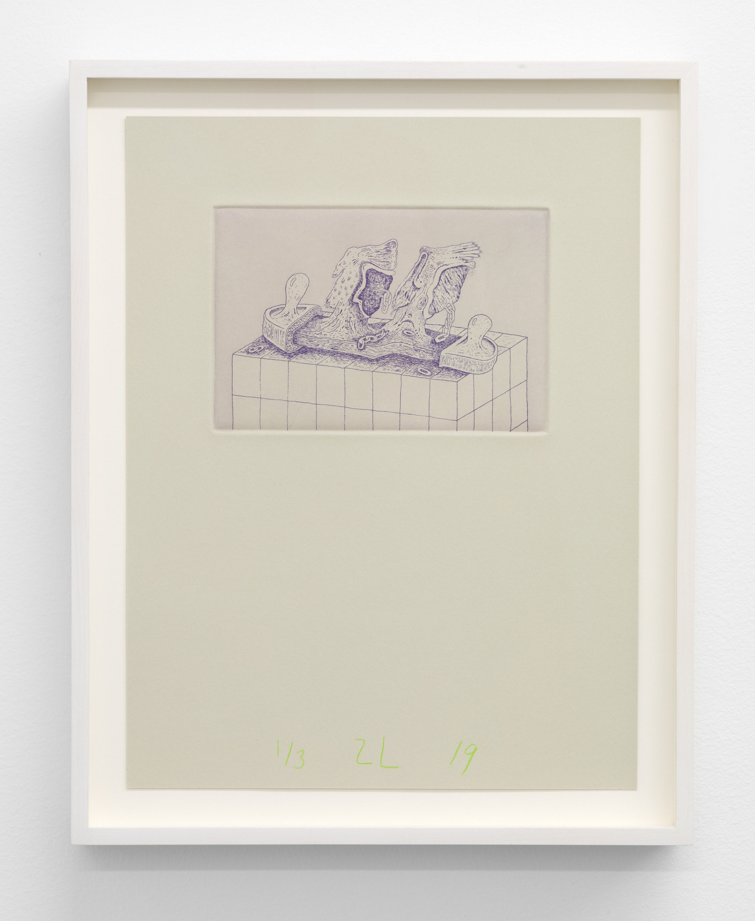 Zachary Leener,  Shekinta (Finger) , 2019 Edition of 3 + 1 AP, Etching and aquatint, ink on paper 6 x 4 in