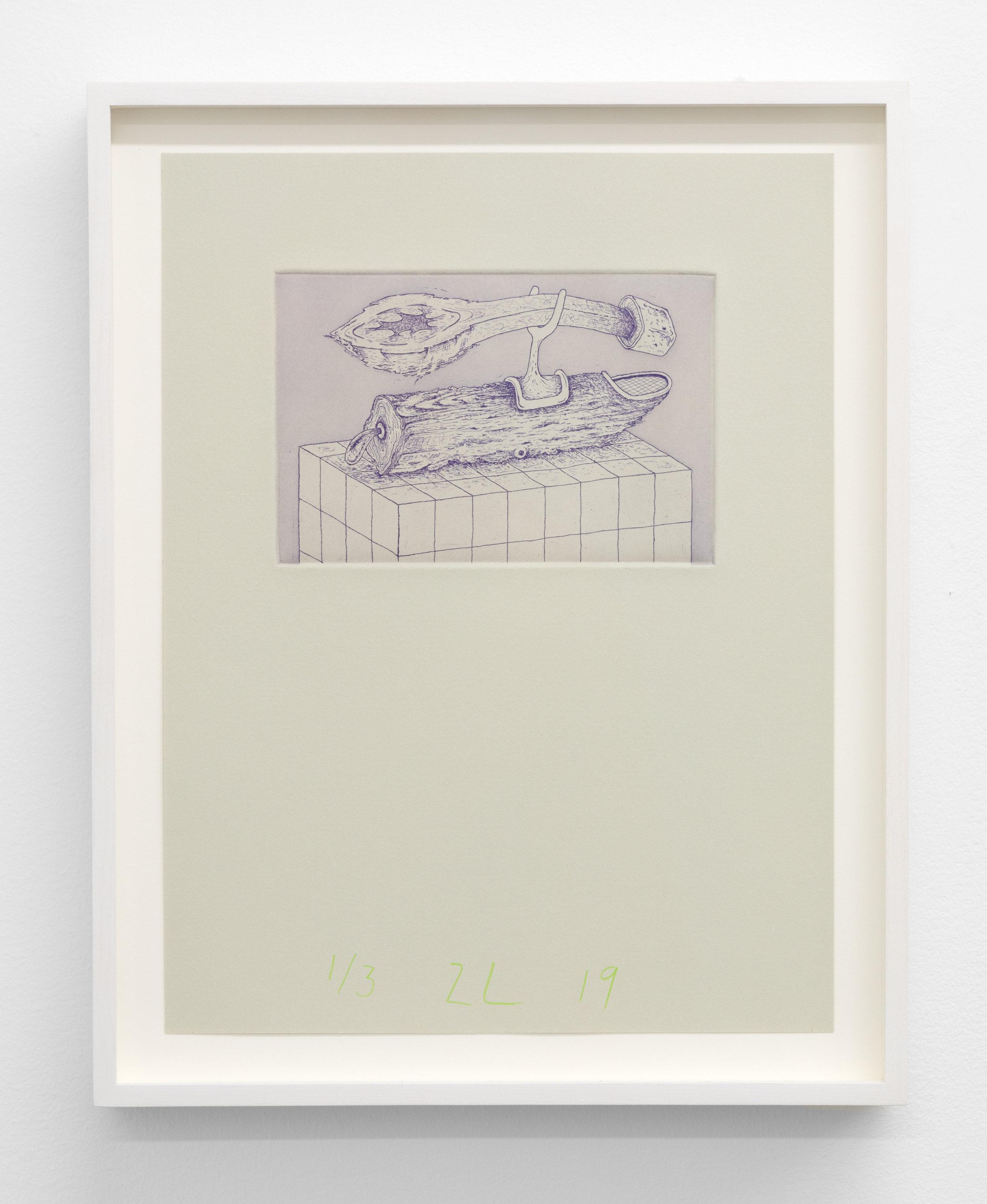 Zachary Leener,  Shekinta (Shekhinah) , 2019 Edition of 3 + 1 AP, Etching and aquatint, ink on paper 6 x 4 in