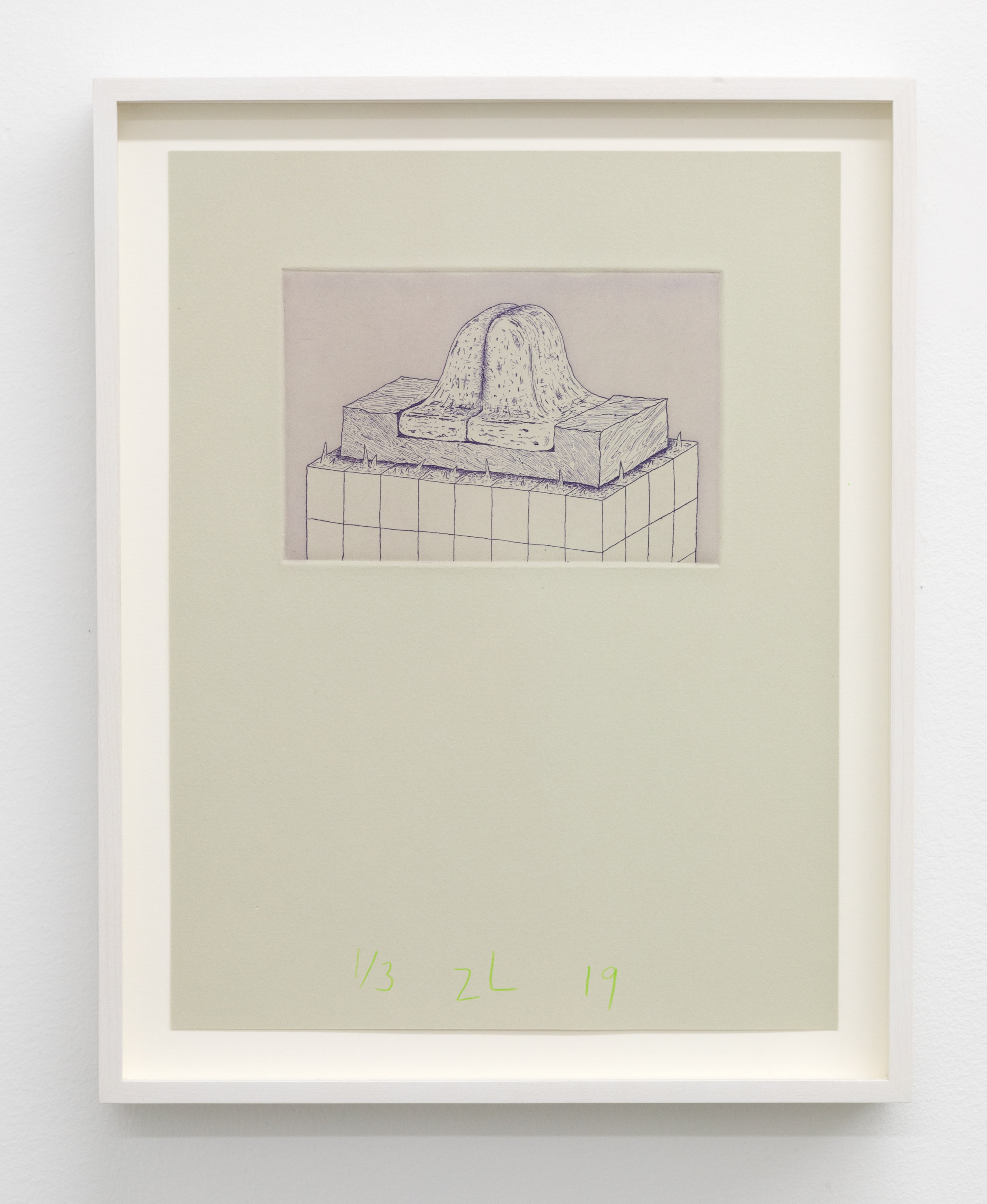 Zachary Leener,  Shekinta (Union) , 2019 Edition of 3 + 1 AP, Etching and aquatint, ink on paper 6 x 4 in
