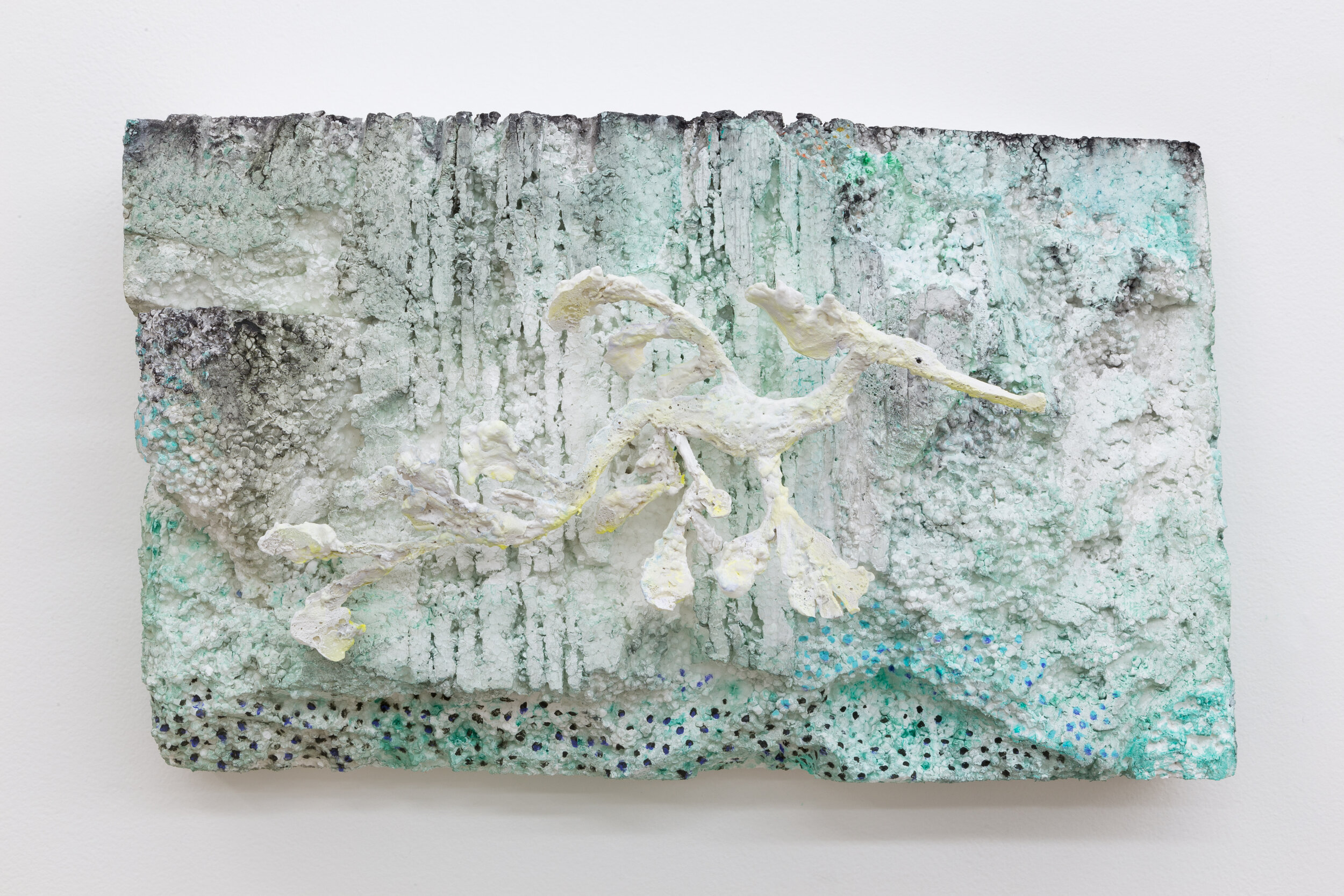 Lin May Saeed  Sea Dragon Relief V / Teneen Albaher Relief V,  2019. Styrofoam, steel, acrylic paint, 11.625 x 19.75 x 6.75 in.