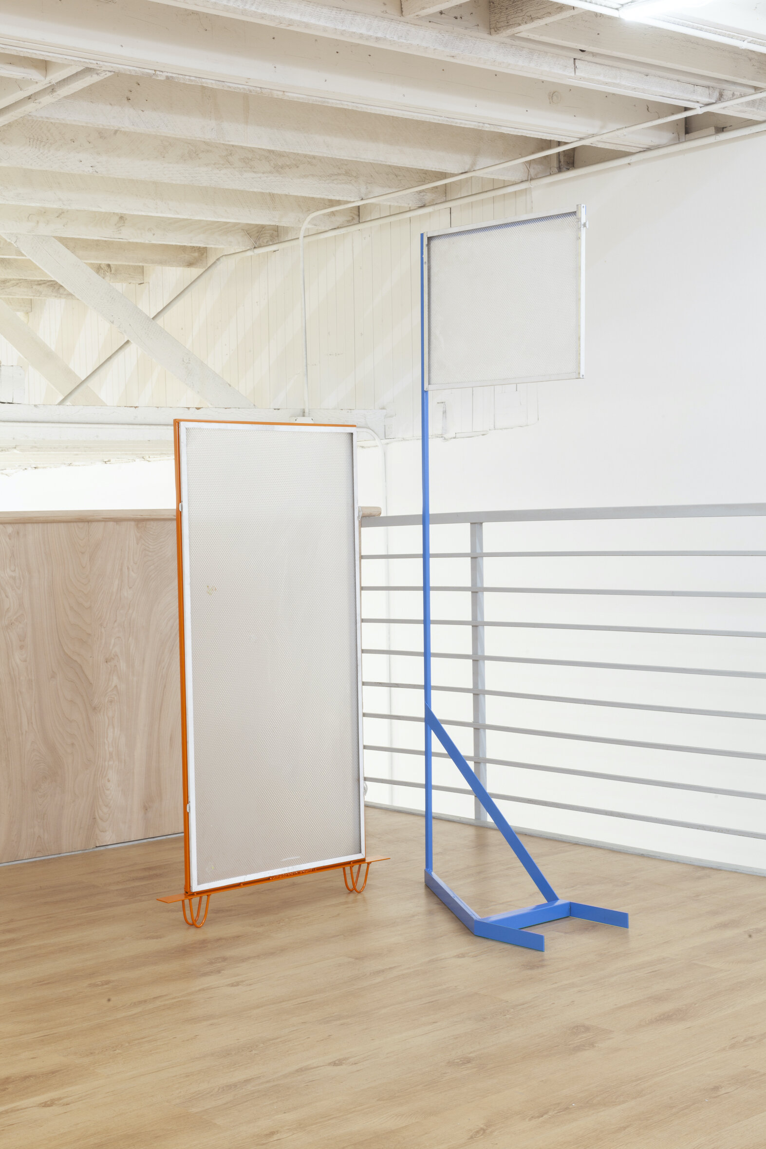 The discreet charm of the ostrich syndrome 1,  2019, Powder coated steel, salvaged fluorescent light cover, 23 x 72 x 12 inches  The discreet charm of the ostrich syndrome 2,  2019, Powder coated steel, salvaged fluorescent light cover, 24 x 51 x 2 inches