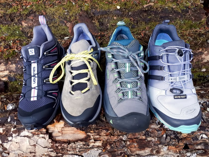 The four main types of lacing systems found on the shoes we tested.   Photo: Steve Redmond
