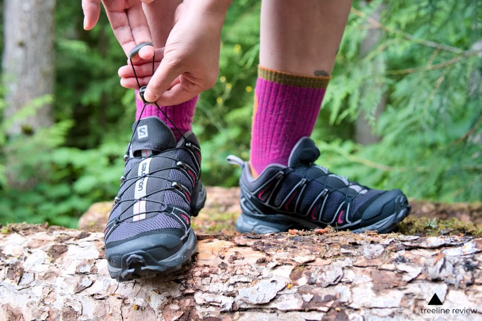 The excess lace is tucked into a pouch on the outside tongue on the Salomons.   Photo: Steve Redmond