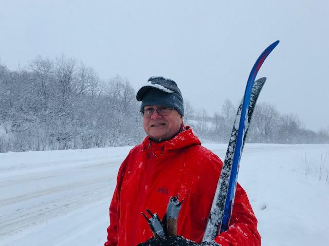 Tester Shaun Sexton backcountry ski touring in Alaska's Talkeetna Range in the REI Drypoint GTX.