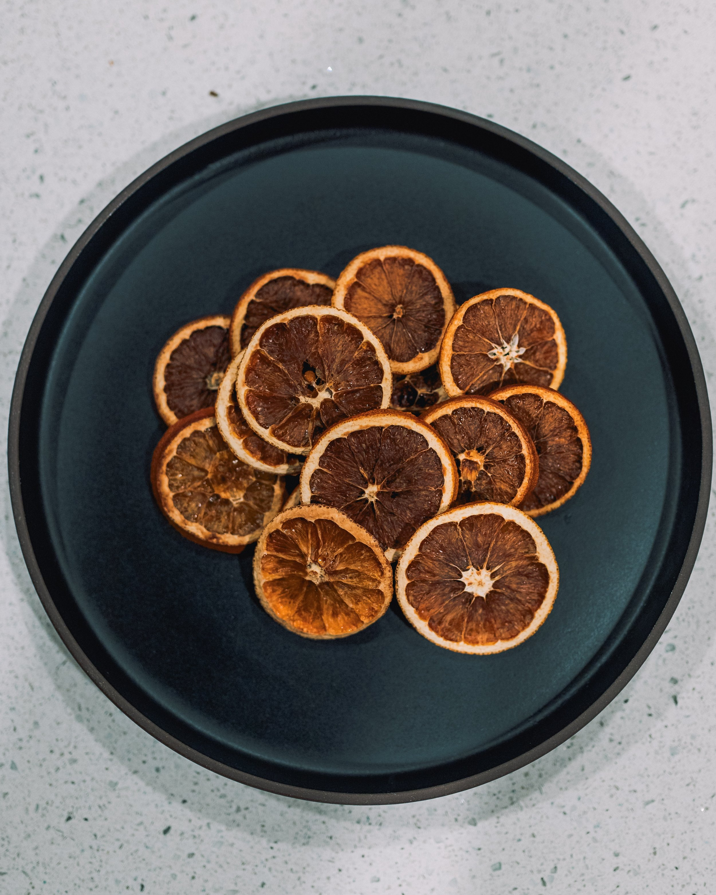 A photo of dehydrated oranges.