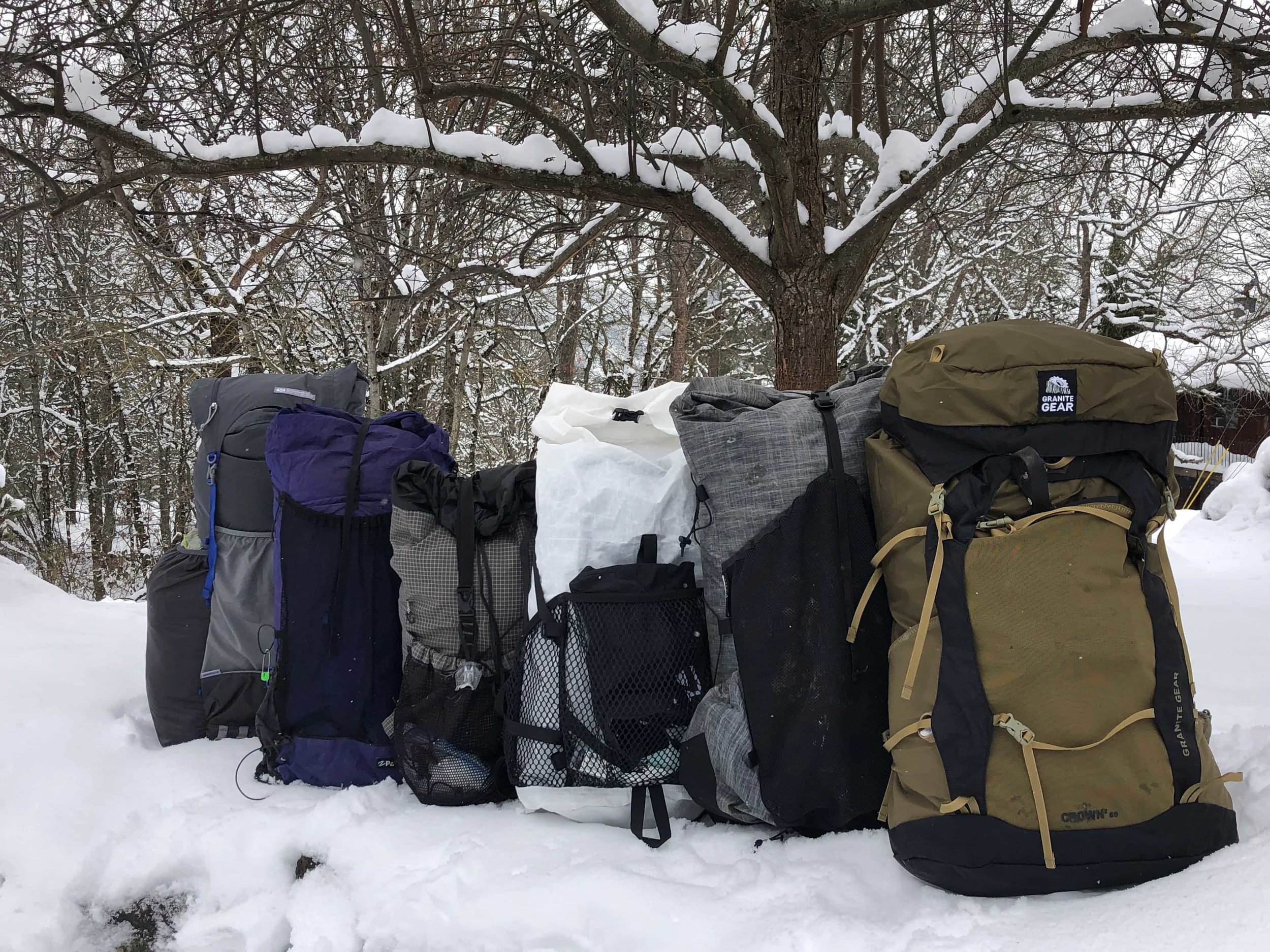 A line up of some of the packs we tested for this story.   Photo by Mike Unger.