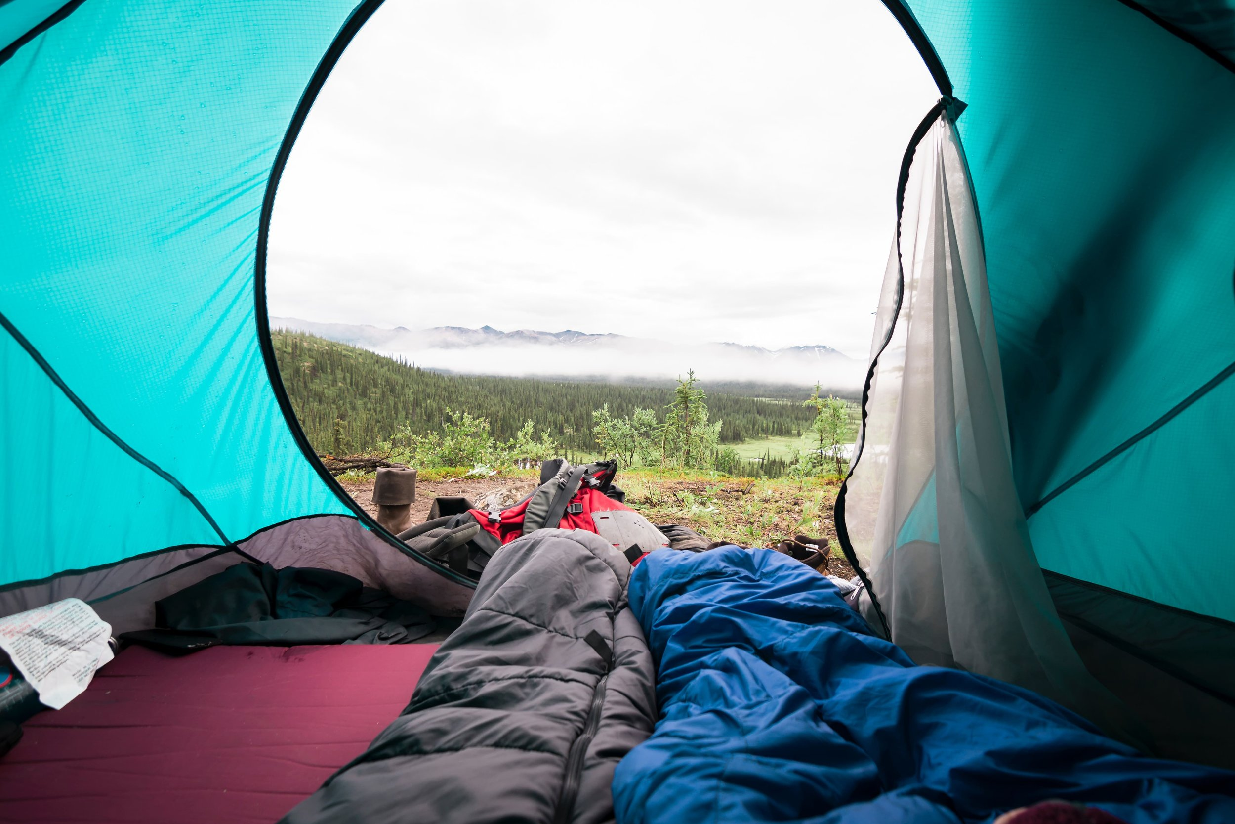 View from inside a tent with sleeping pads and sleeping bags. Photo by  Steve Halama  on  Unsplash
