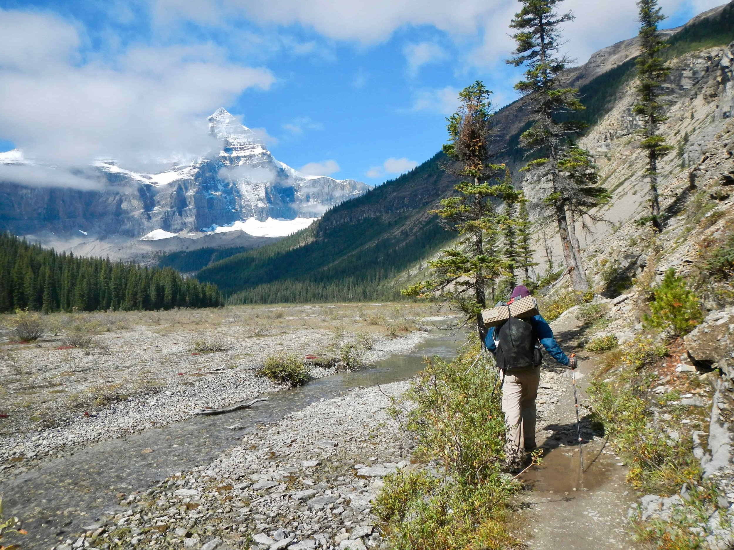 The Therm-a-Rest ZLite can be carried on the outside of your pack to save volume inside your pack. Here it is on a particularly long food carry in the Canadian Rockies.Photo courtesy Naomi Hudetz