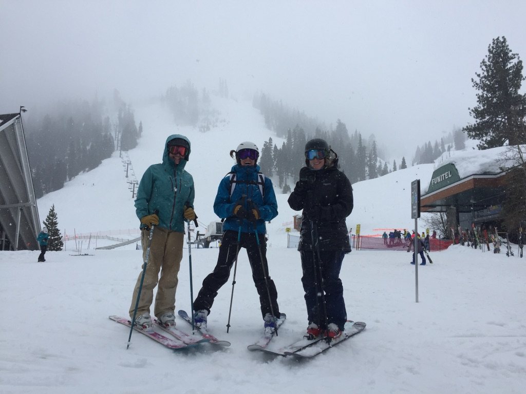 The author skiing with friends on a foggier day in Squaw Valley, California.   Photo courtesy Jill Sanford.
