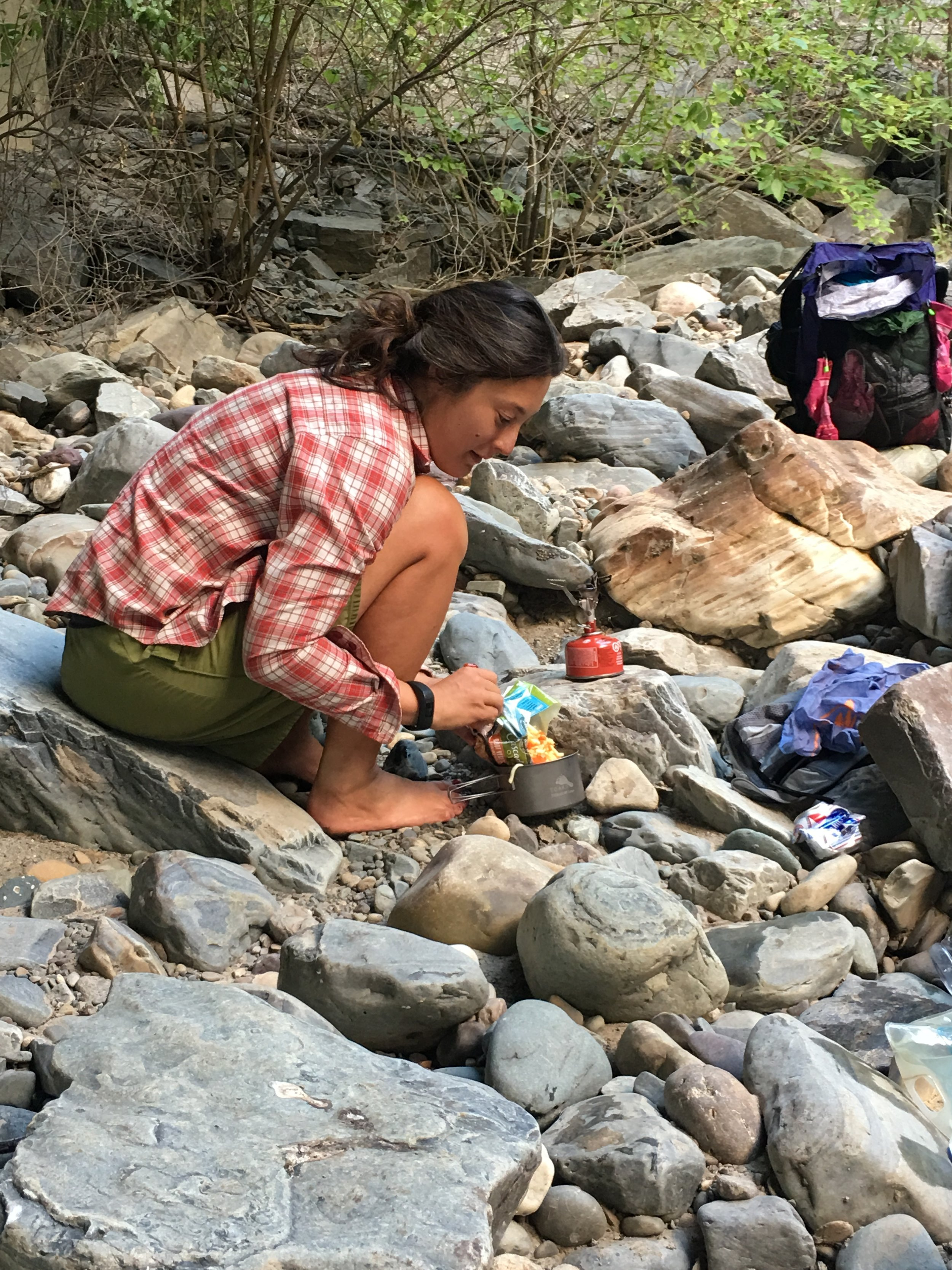 The author using the MSR Pocket Rocket on the 1,200-mile Pacific Northwest Trail backpacking trip from Montana to the Pacific Ocean.  Photo courtesy Naomi Hudetz.