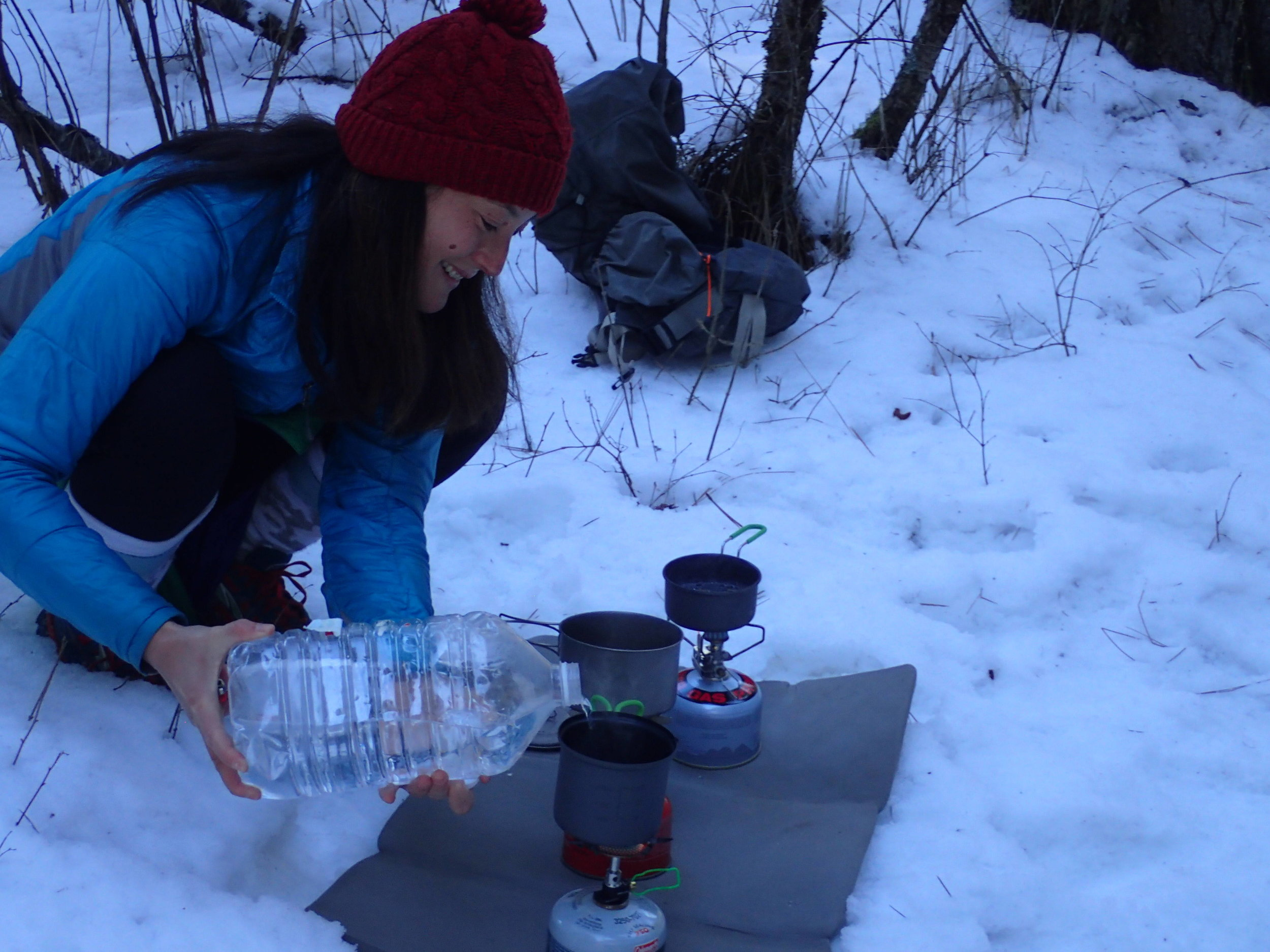 The author testing canister stoves in northern Idaho.   Photo courtesy Liz Thomas.