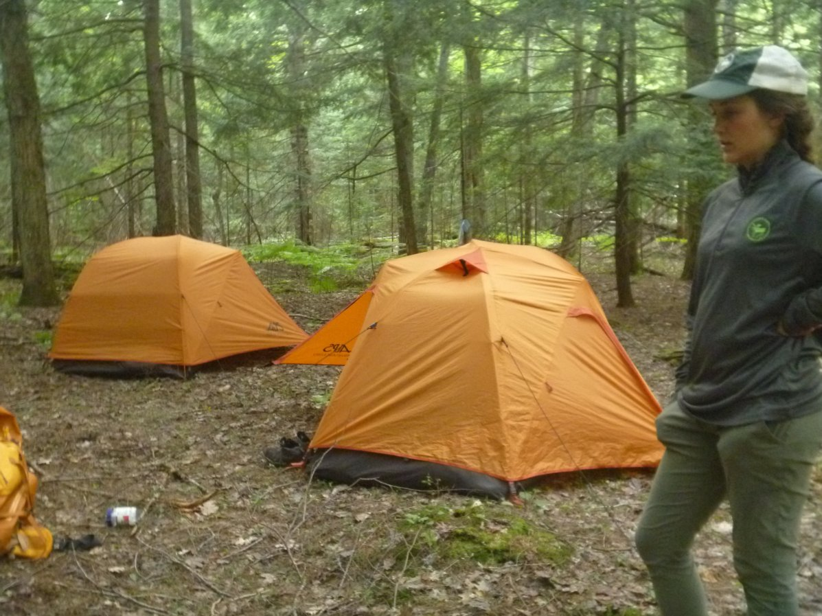 The ALPS Mountaineering Lynx is an affordable 4-person camping tent that can also be used for backpacking. Here, kids use the Alps as part of an outdoor program run by the author.   Photo courtesy Micah Leinbach
