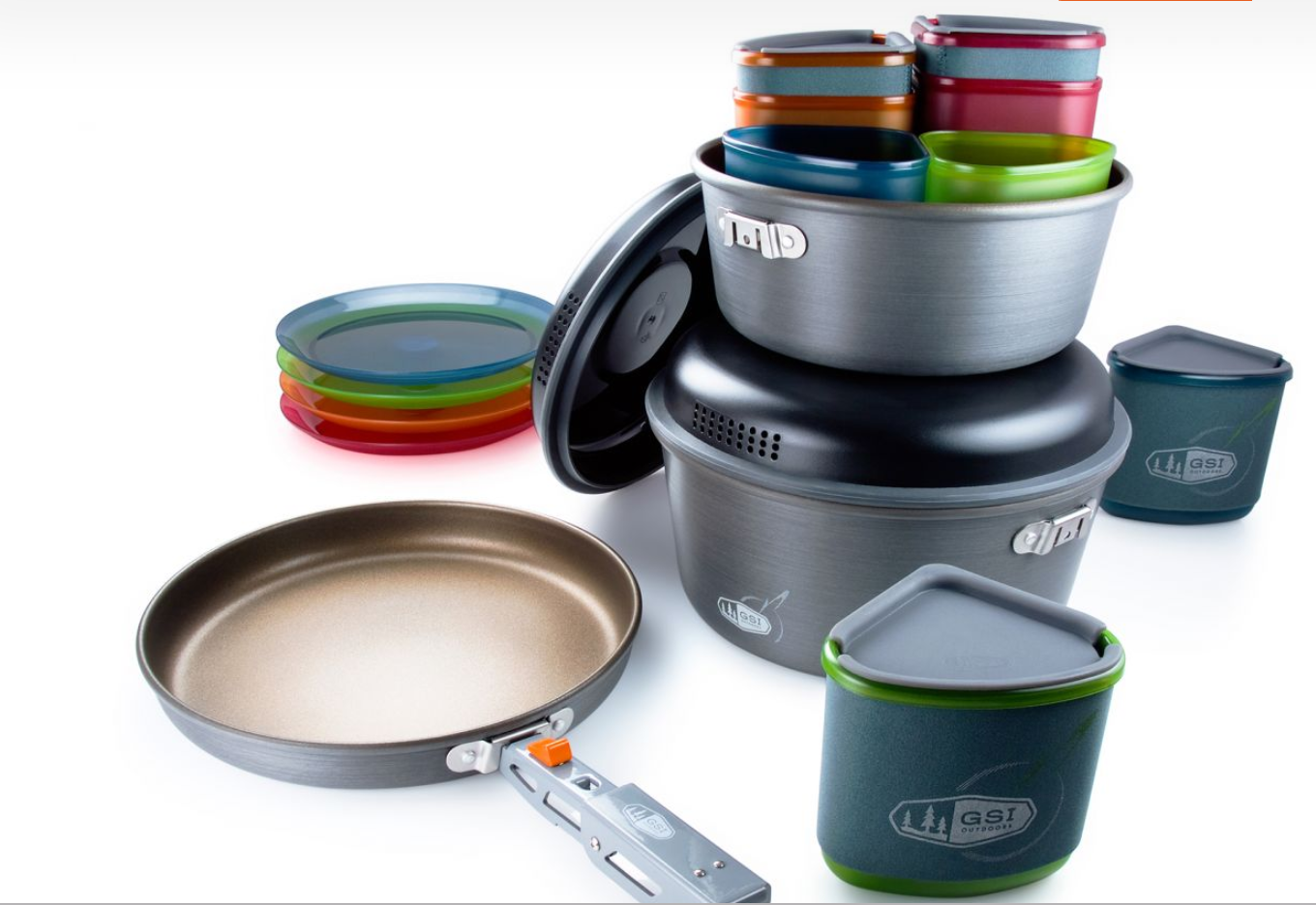 The GSI Pinnacle cookset includes 2 pots, one frying pan, 1 pot gripper, 4 plates, 4 bowls, 4 sippy mugs, and a welded sink/stuff sack.