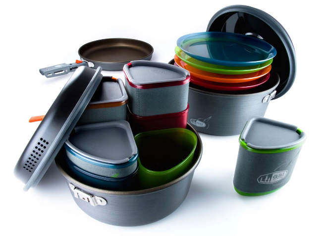 The GSI Pinnacle cookset includes more than 20 pieces of cookware.