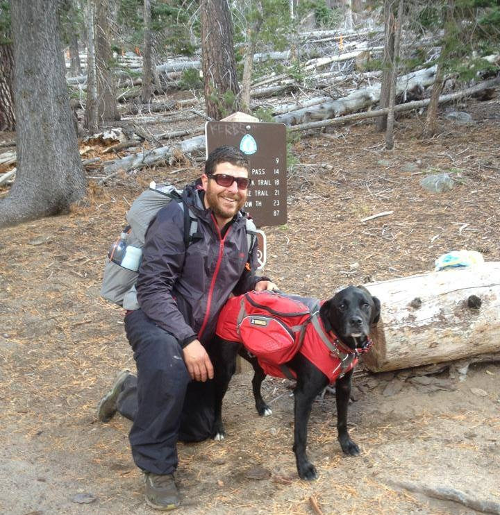 Karluk hiked the 165-mile long Tahoe Rim Trail with his owner using the Ruffwear Palisades pack.   Photo courtesy Whitney LaRuffa.