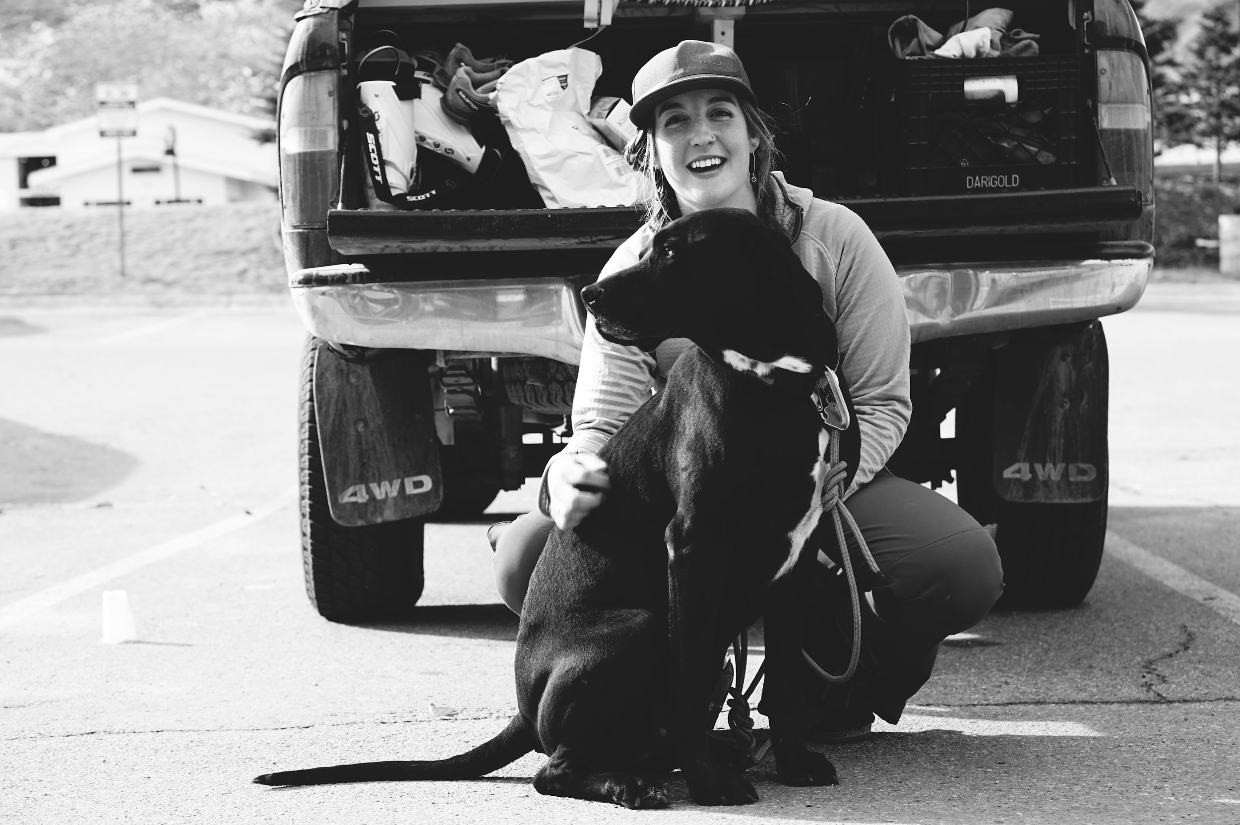 The author with her Black Lab/Great Dane Mix, Champ.   Photo courtesy Josette Deschambeault .