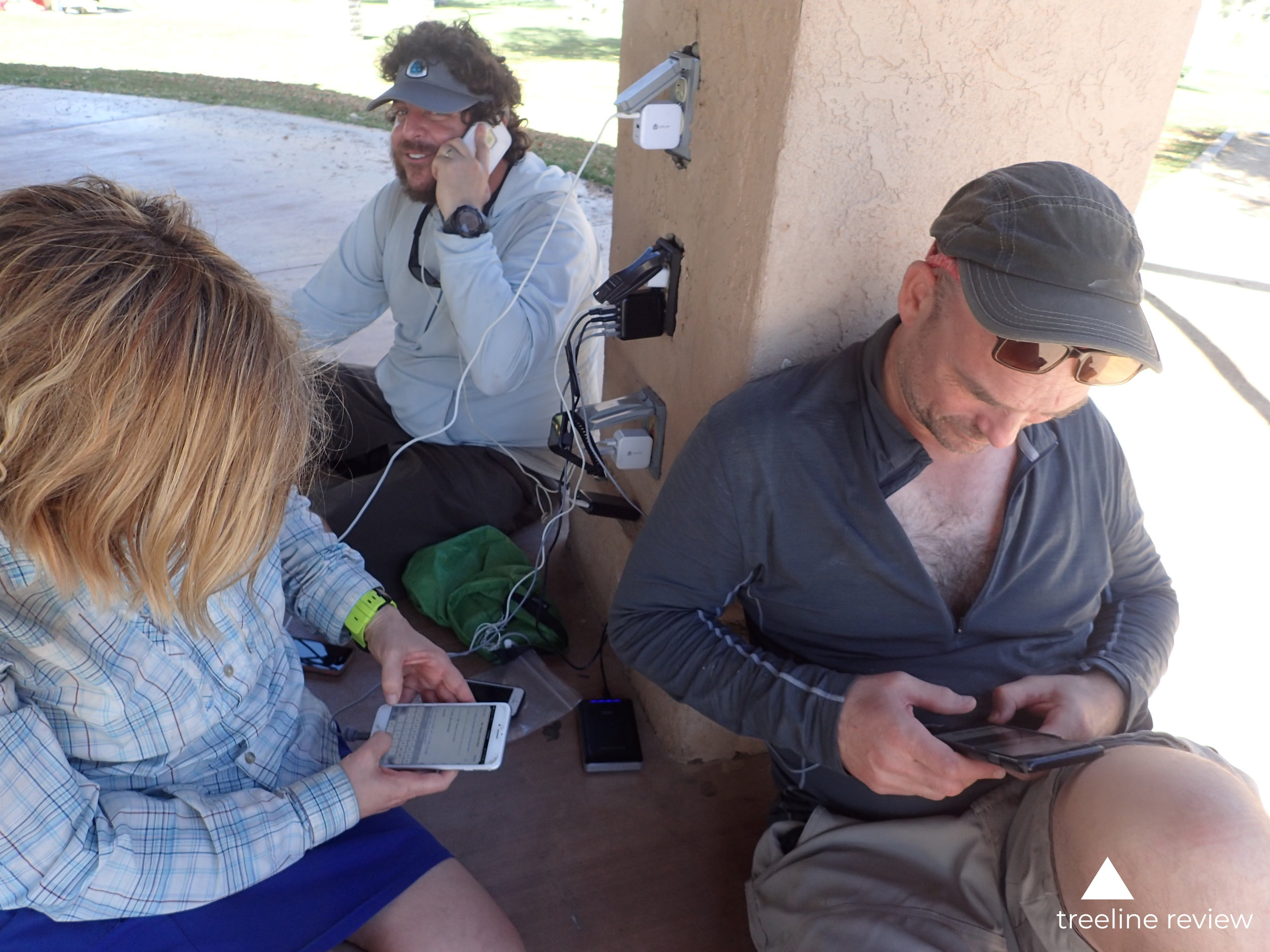 Hikers take every opportunity to charge their phones and external battery packs.