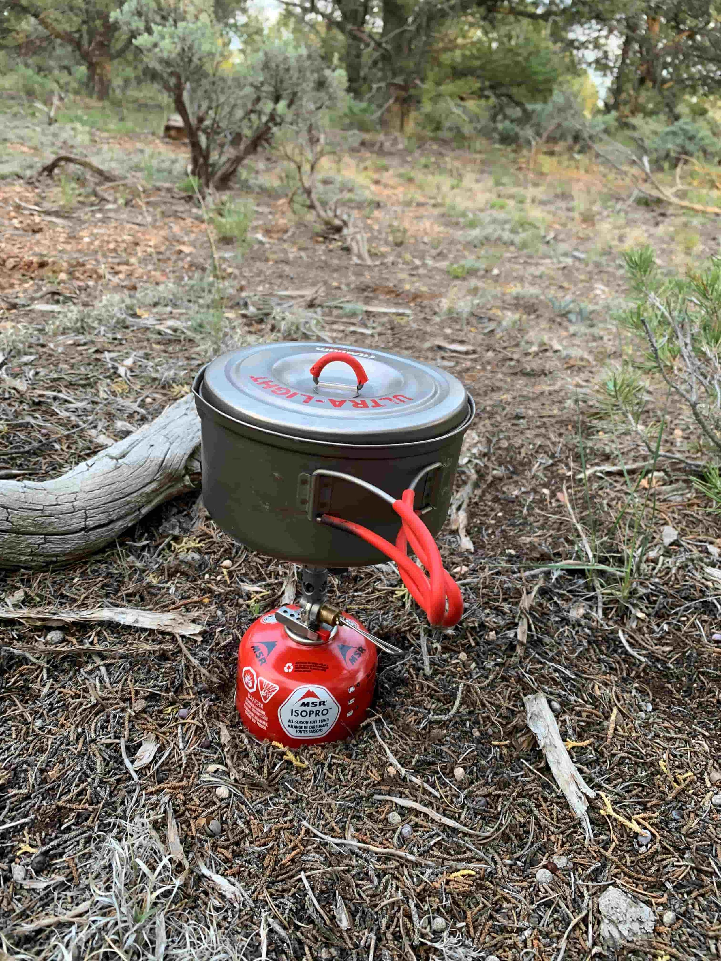 The Evernew Titanium UL Pot cooking dinner on the Arizona Trail. Photo by Naomi Hudetz.
