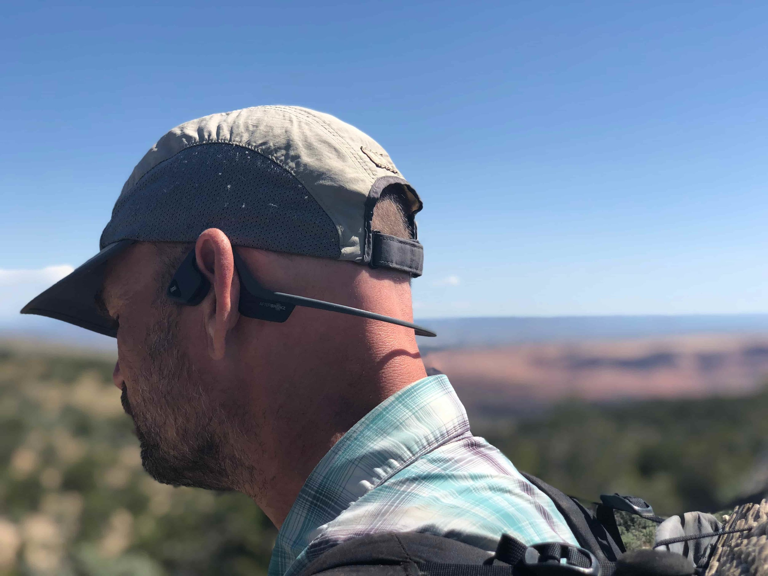 We both give a big thumbs up to the Aftershokz Trekz Air headphones. They work by not covering your eardrums, meaning you can still hear that rattlesnake, car approaching, or your hiking partner calling for help. Photo courtesy Naomi Hudetz.
