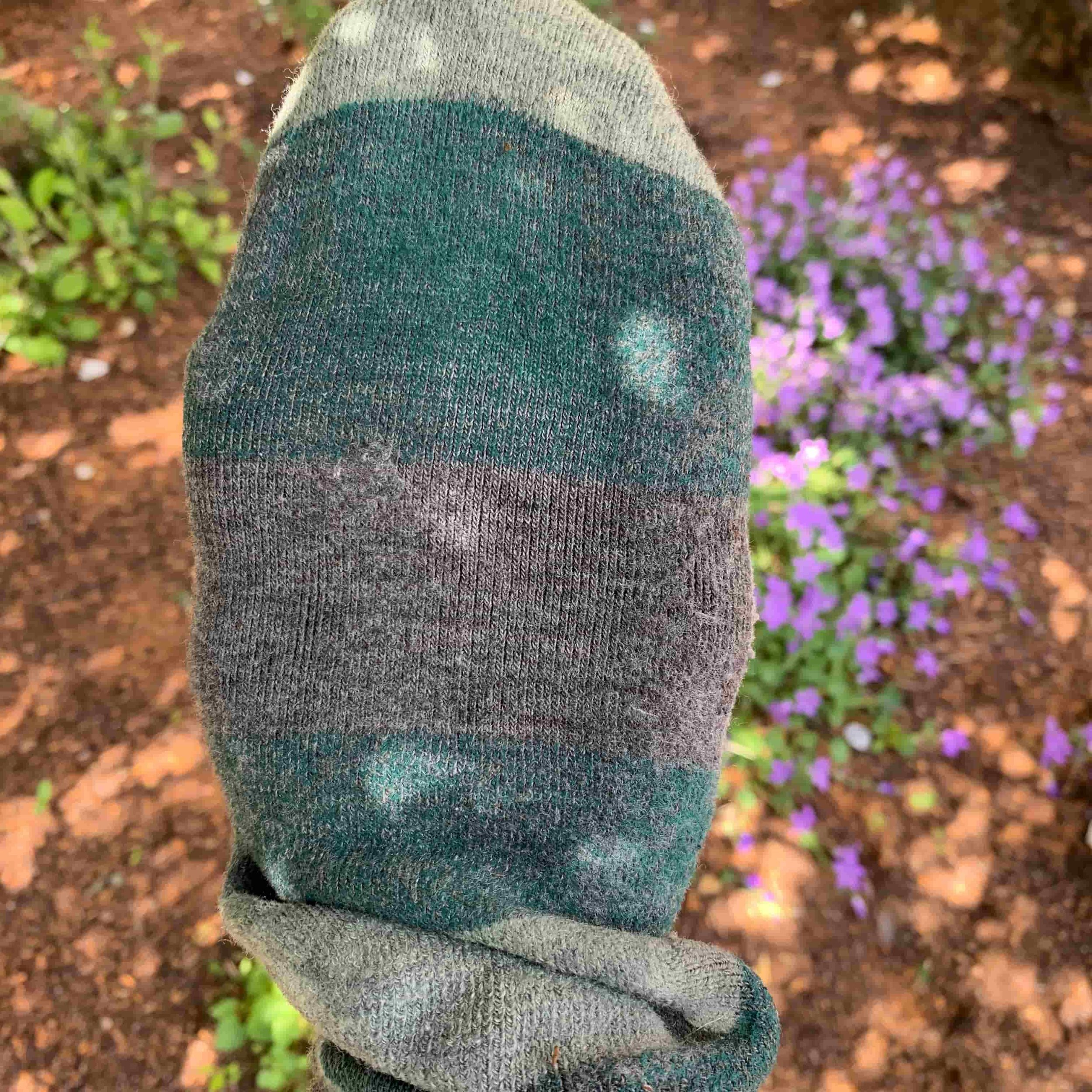 This sock was used for roughly 400 miles on the Arizona Trail. There is one small spot that shows wear, underneath the ball of the foot. Photo courtesy Naomi Hudetz