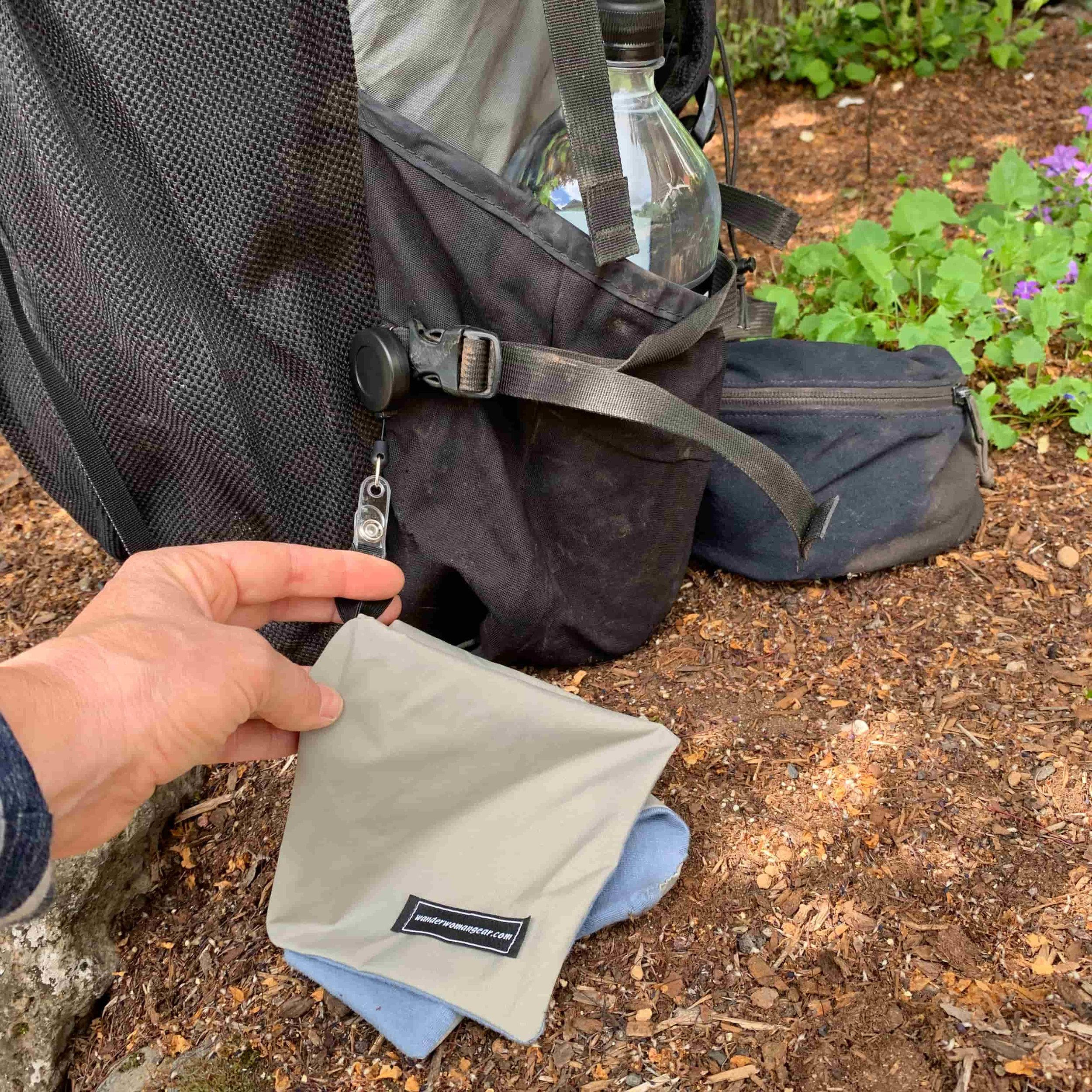 The Wander Woman Gear waterproof wipe attached to a pack. Photo courtesy Naomi Hudetz