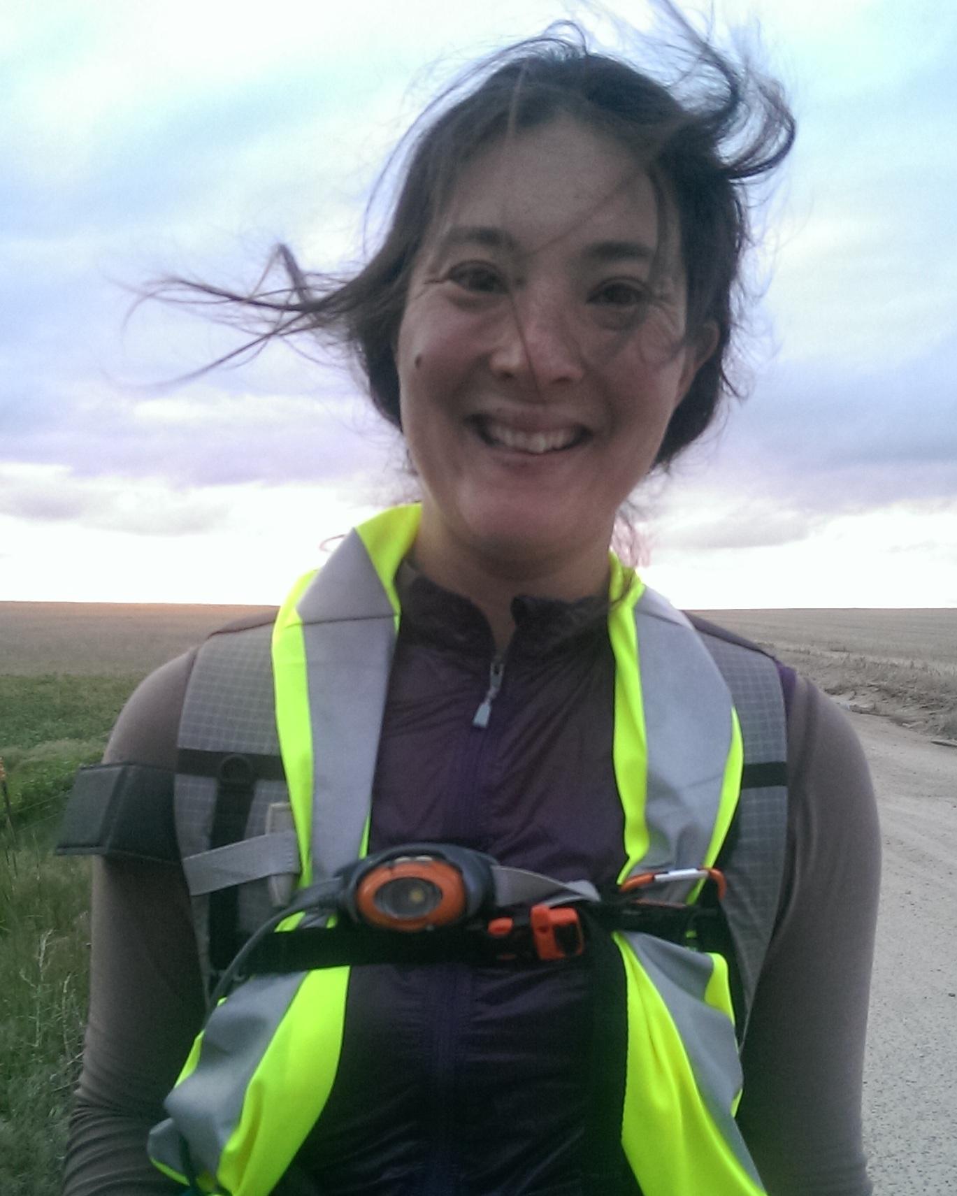 Liz Thomas wearing a reflective safety vest.
