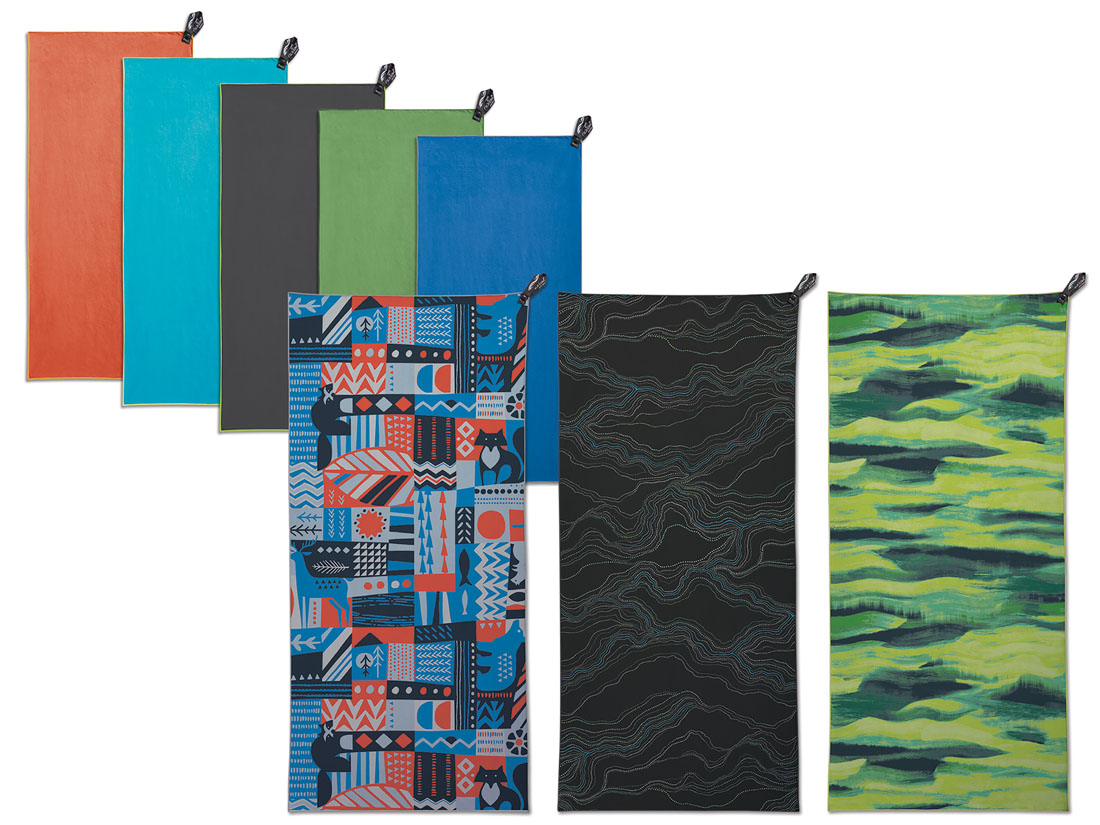 The PackTowl quick drying personal towel in various colors and patterns.