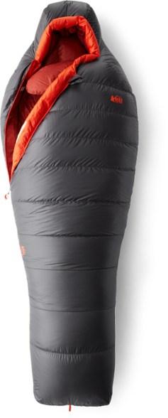 The REI Magma 15 women's sleeping bag, partially zipped.