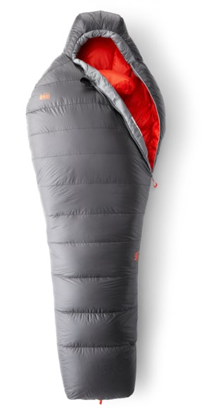 The REI Magma 15 men's sleeping bag, partially zipped.