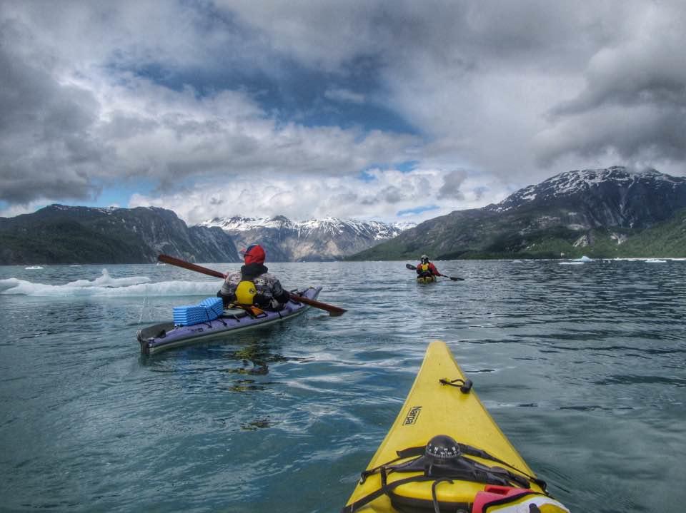 Kayakers in Glacier Bay National Park, Alaska.
