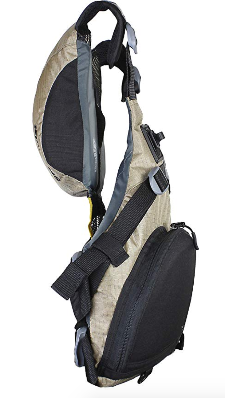 The many pockets on the Stohlquist Fisherman personal flotation device.