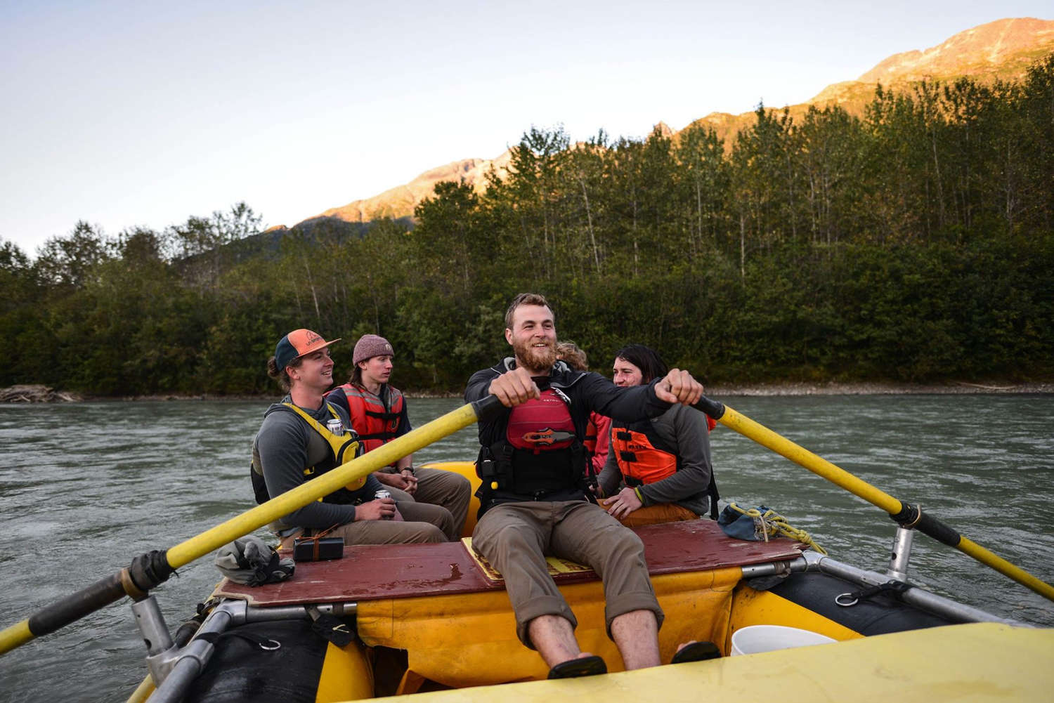 Aaron Henry in the Astral GreenJacket PFD on the Klehini River in Haines, Alaska.
