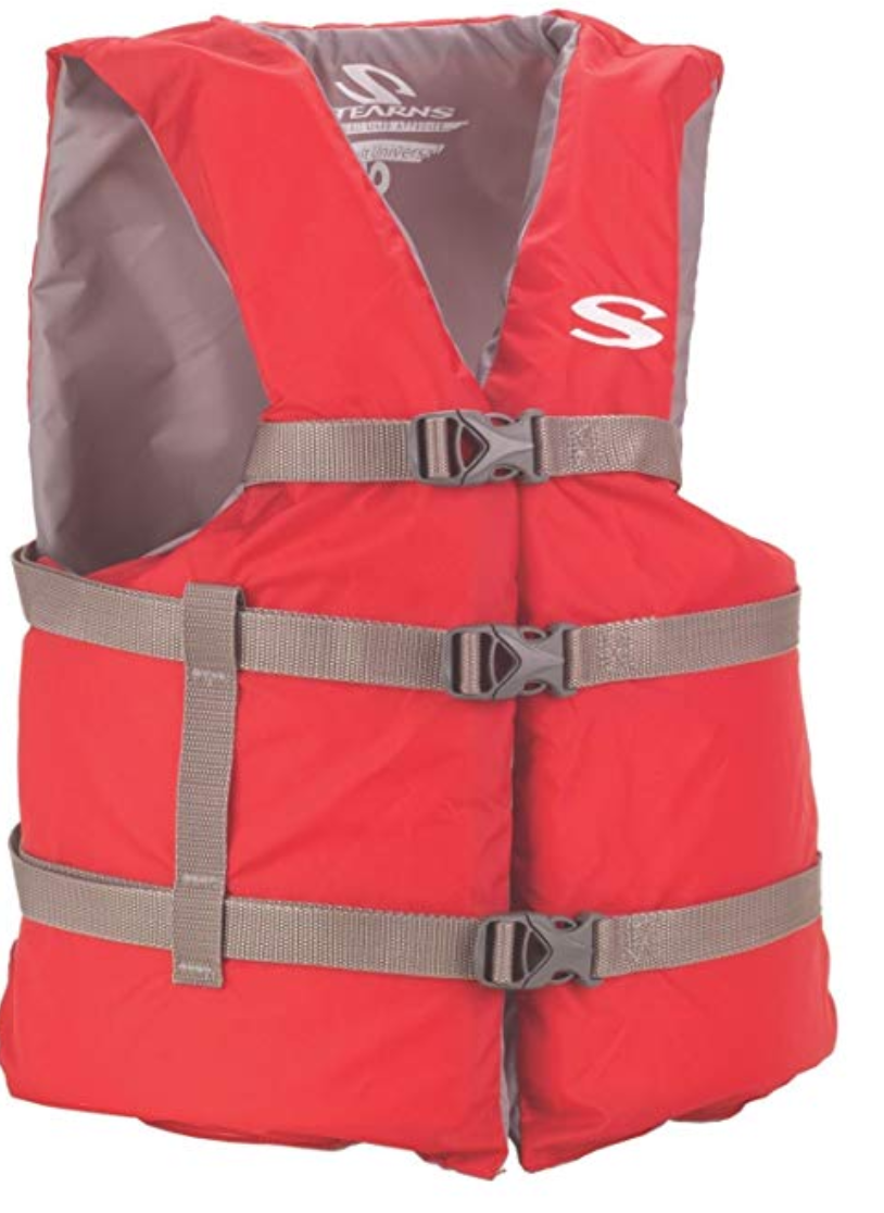 The Stearns Adult Classic Life Jacket in red.